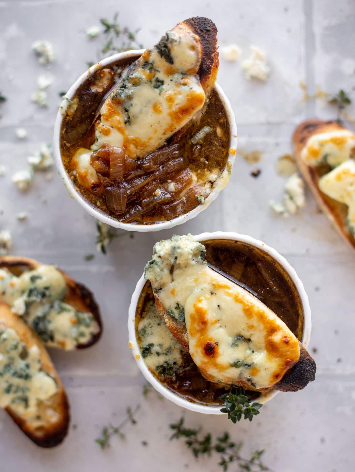 french onion soup with brûléed blue cheese