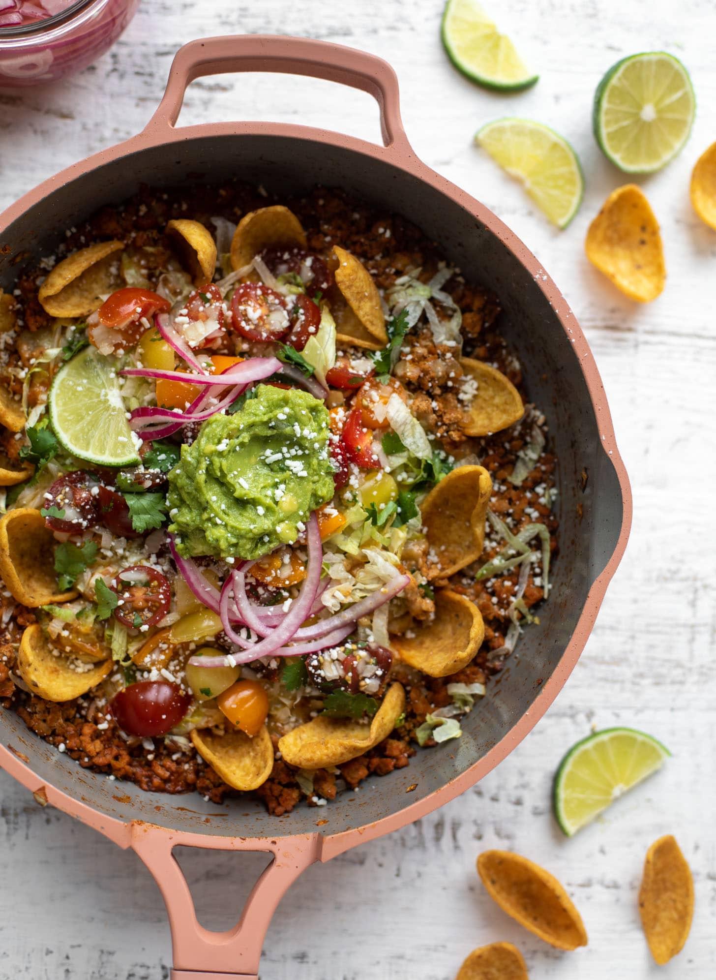 turkey taco nacho skillet
