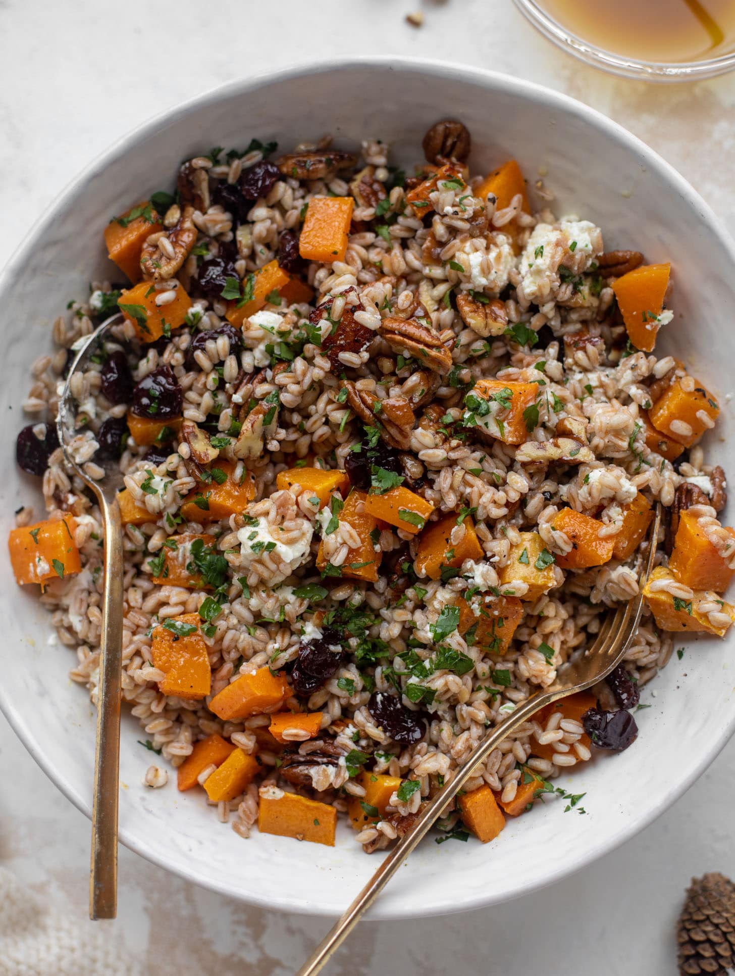 warm winter farro with butternut squash, goat cheese, cranberries and pecans