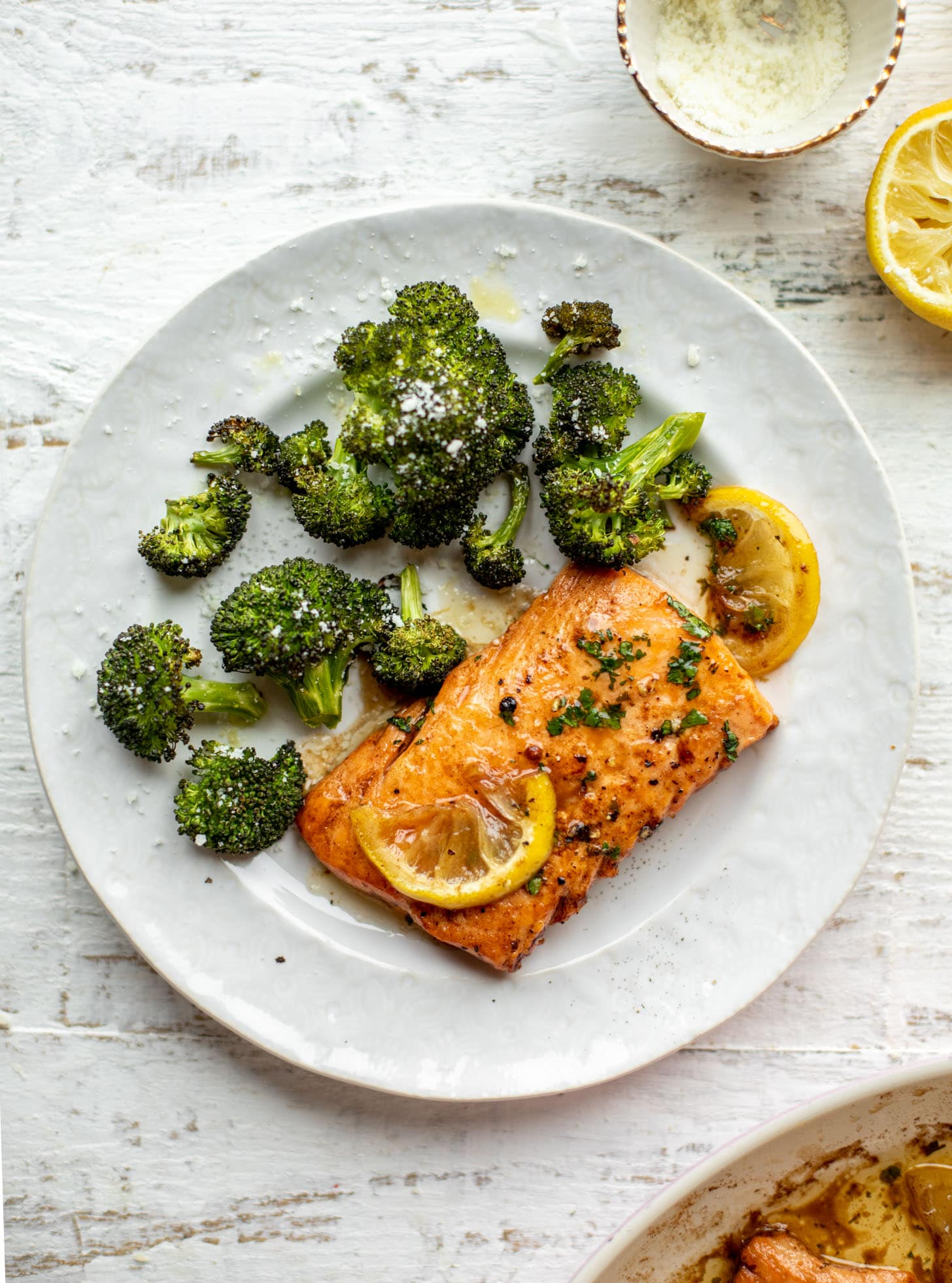 lemon brown butter salmon with roasted broccoli