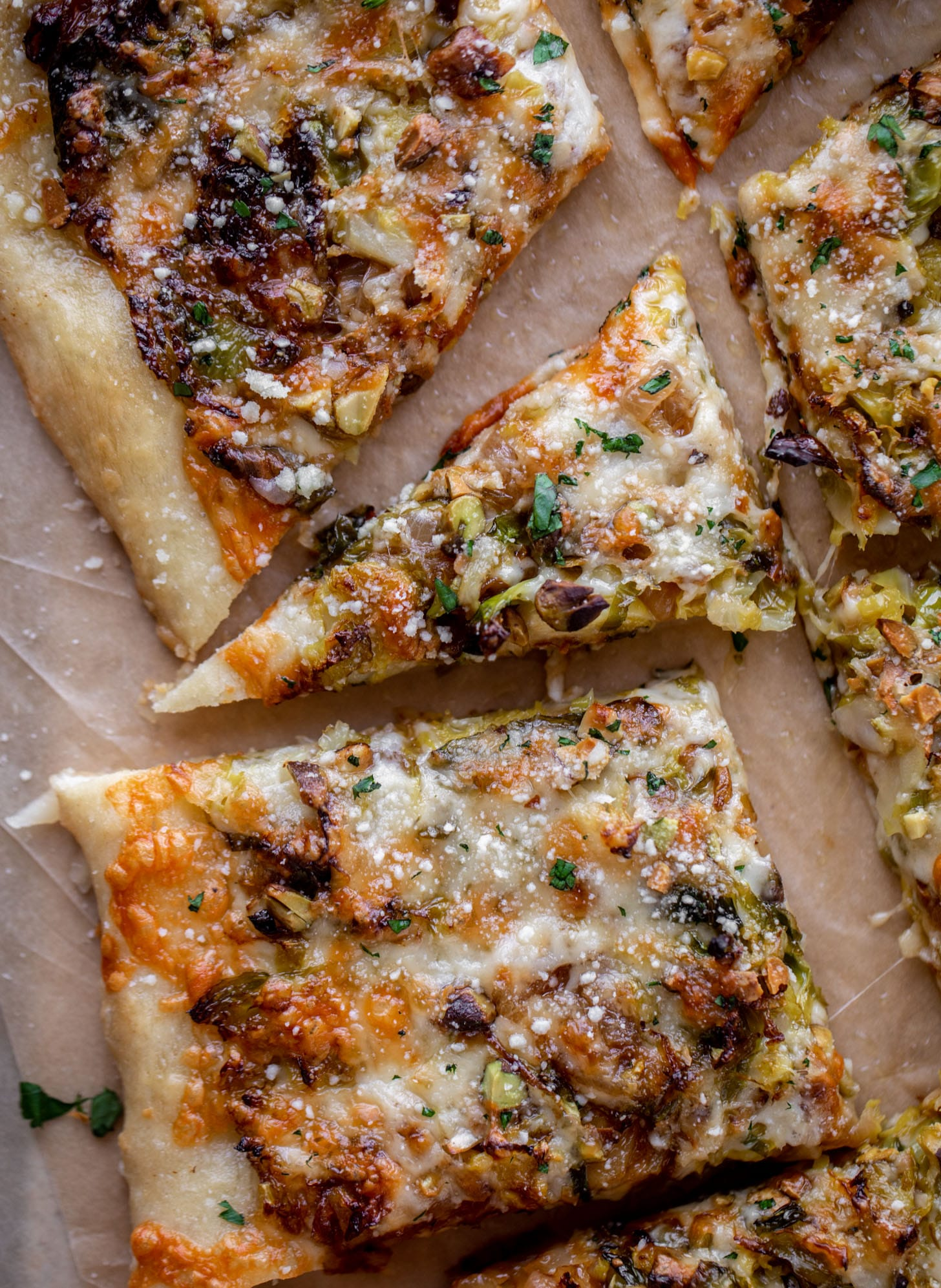 brussels, caramelized onion and pistachio pizza
