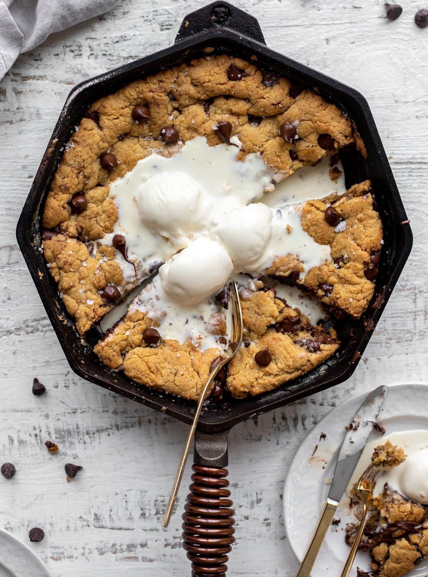 chewy chocolate chip skillet cookie with ice cream