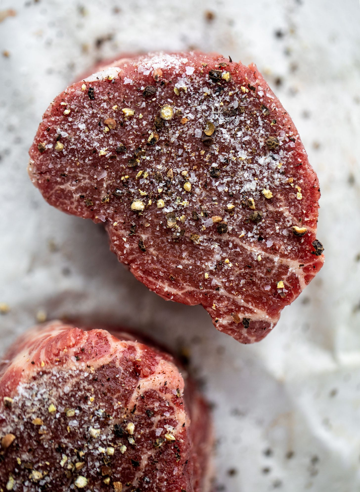 filet mignon steaks with salt and pepper