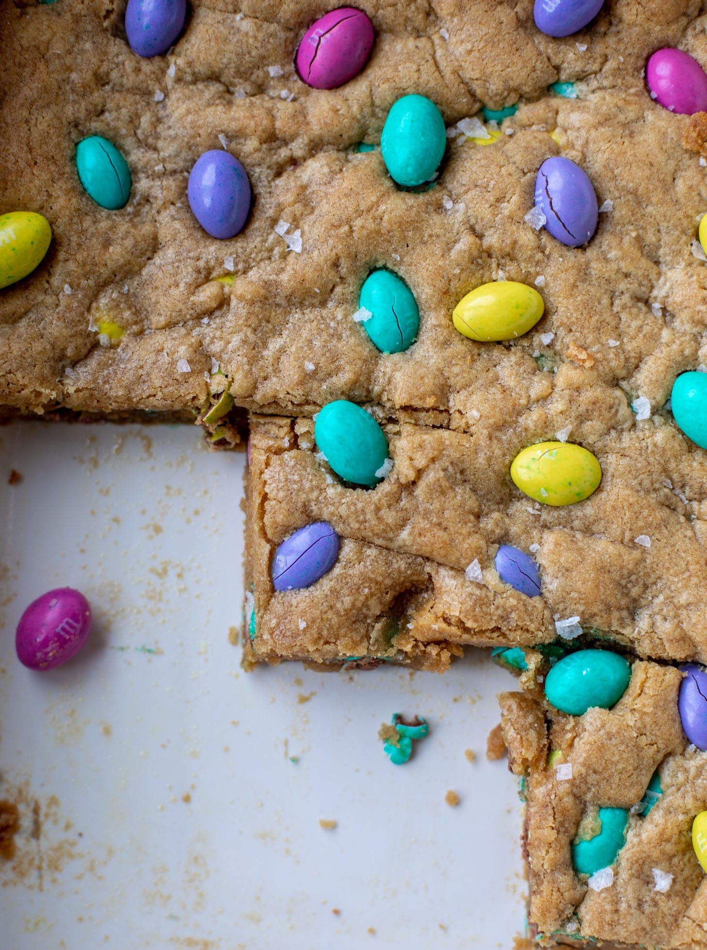 salted brown butter peanut butter m&m cookie bars