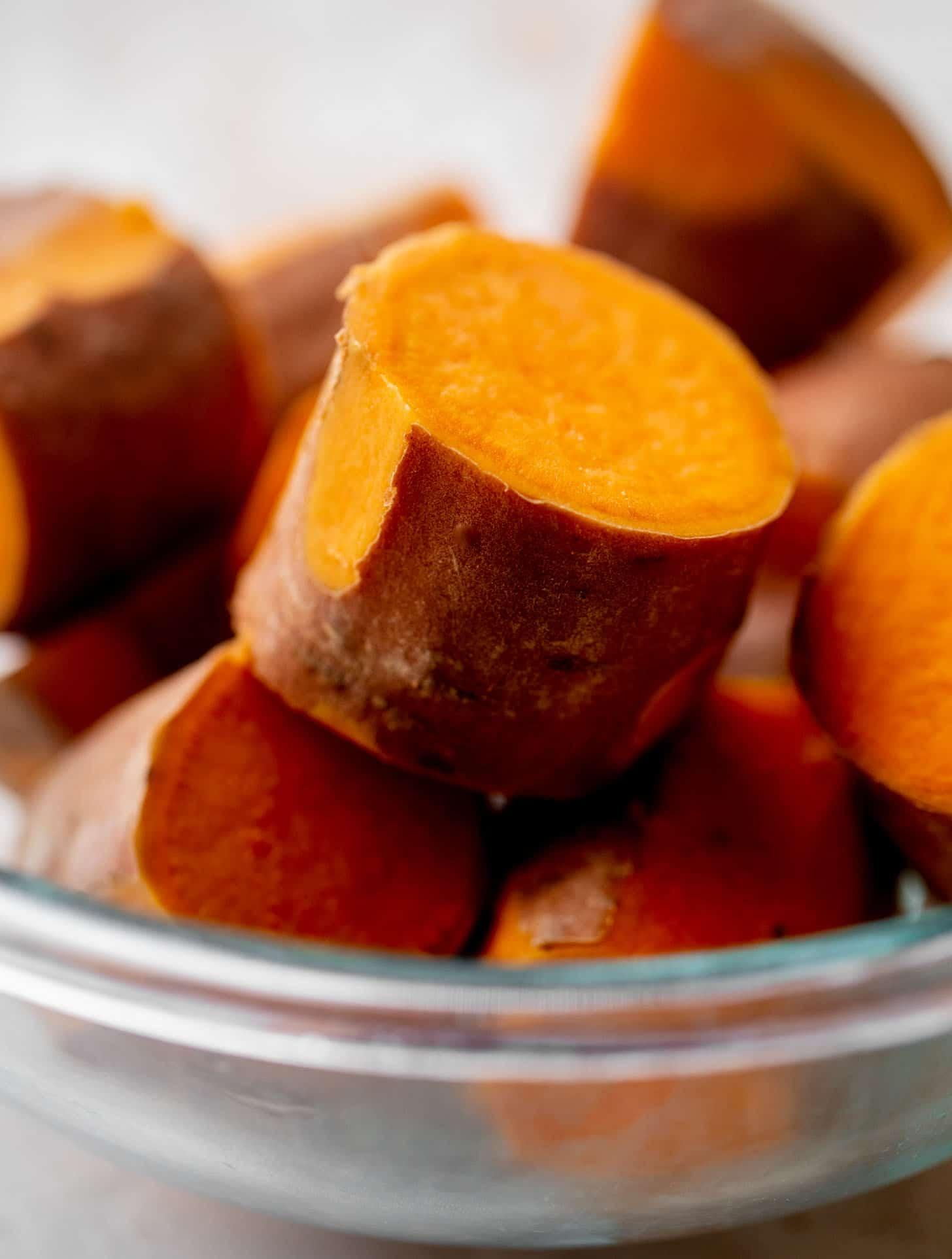 par boiled sweet potatoes