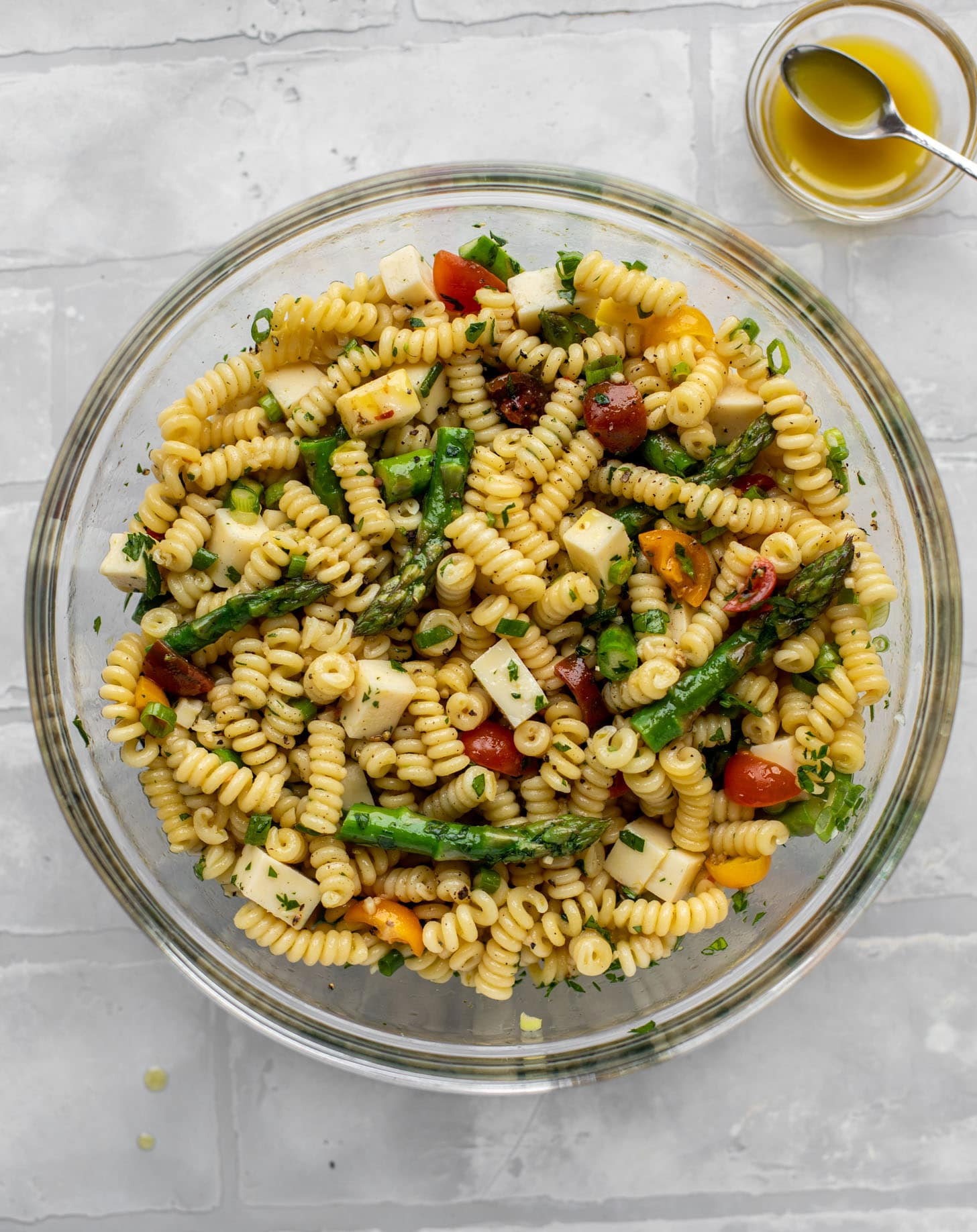 asparagus pasta salad with honey mustard dressing