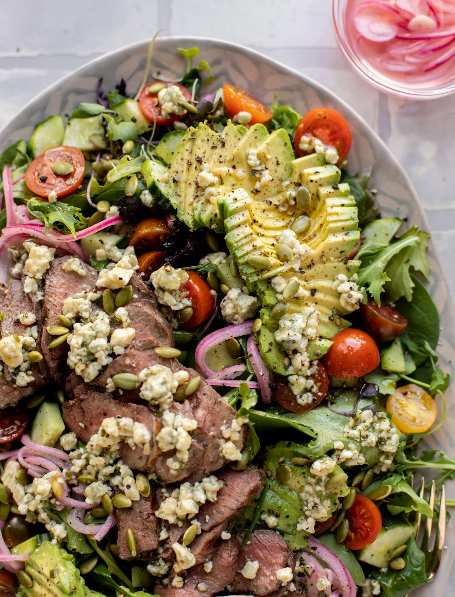 everyday steak salad with blue cheese vinaigrette
