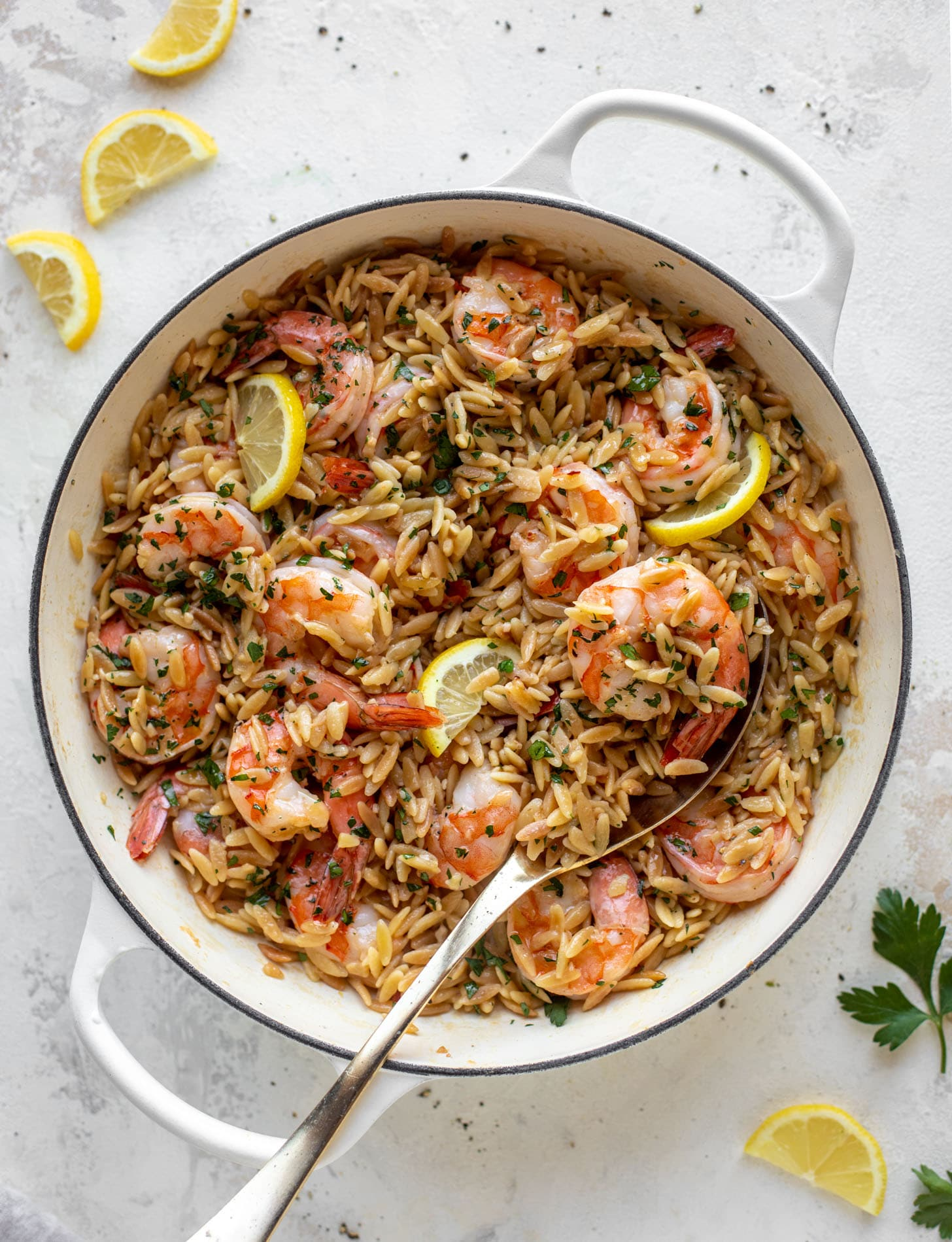 one pot garlic butter shrimp and orzo