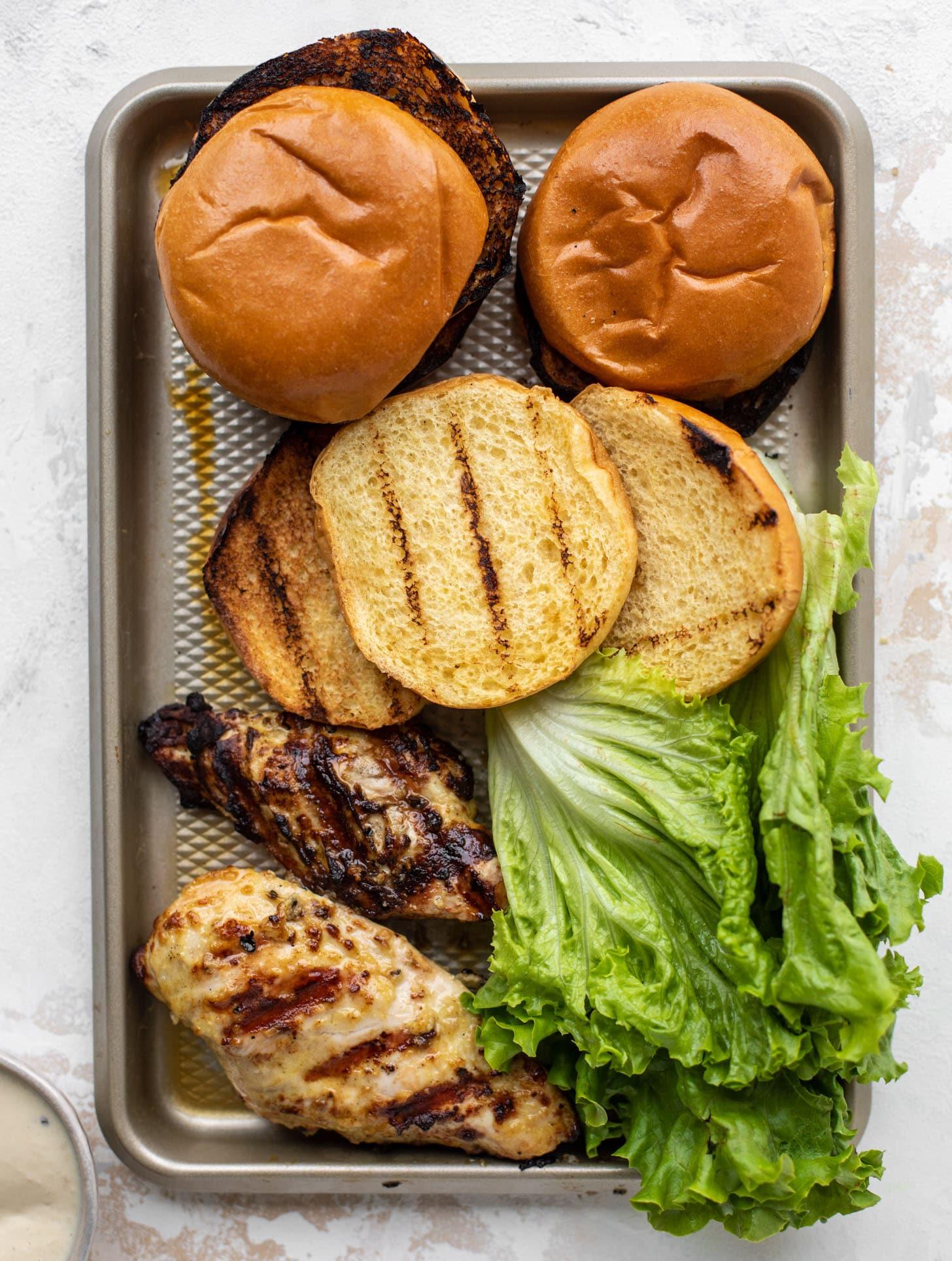 grilled chicken caesar sandwiches ready to go