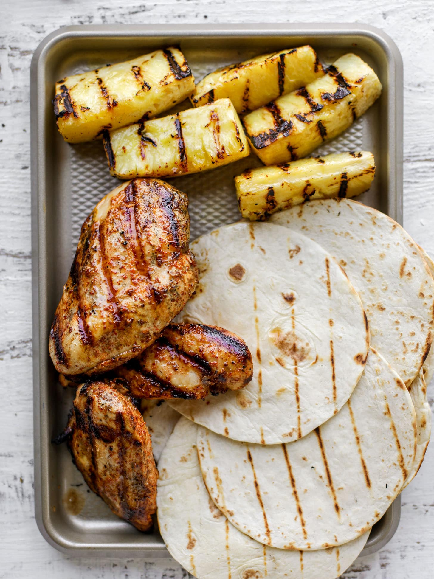 grilled chicken, pineapple and tortillas