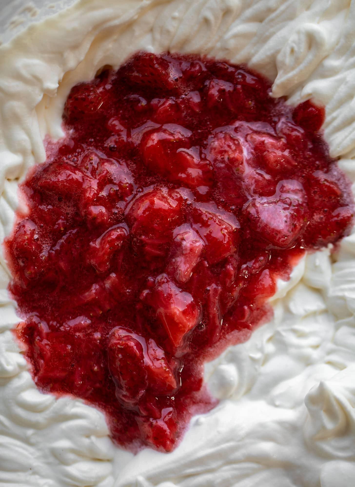 strawberry sauce in no churn ice cream