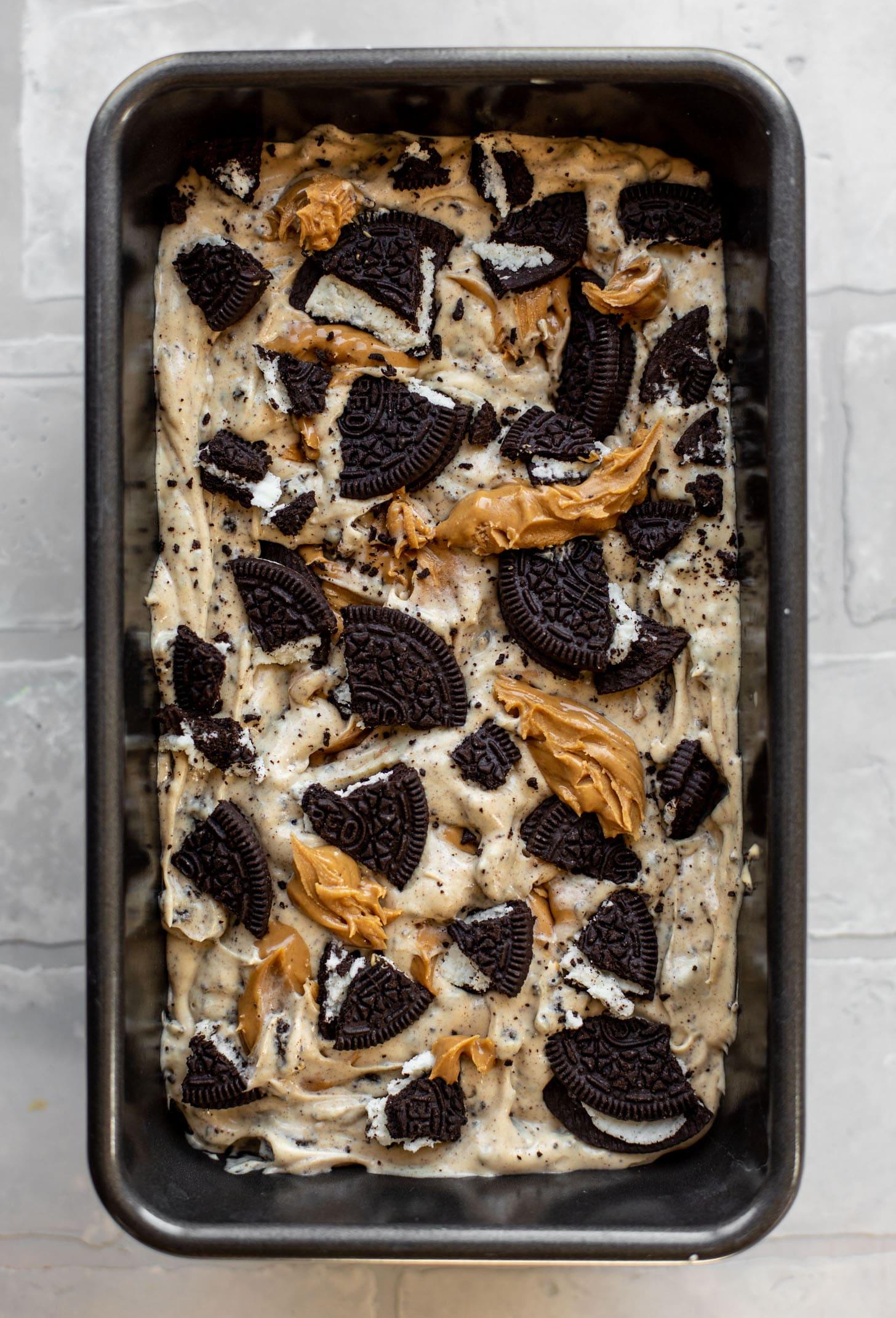 no churn peanut butter oreo ice cream ready for the freezer