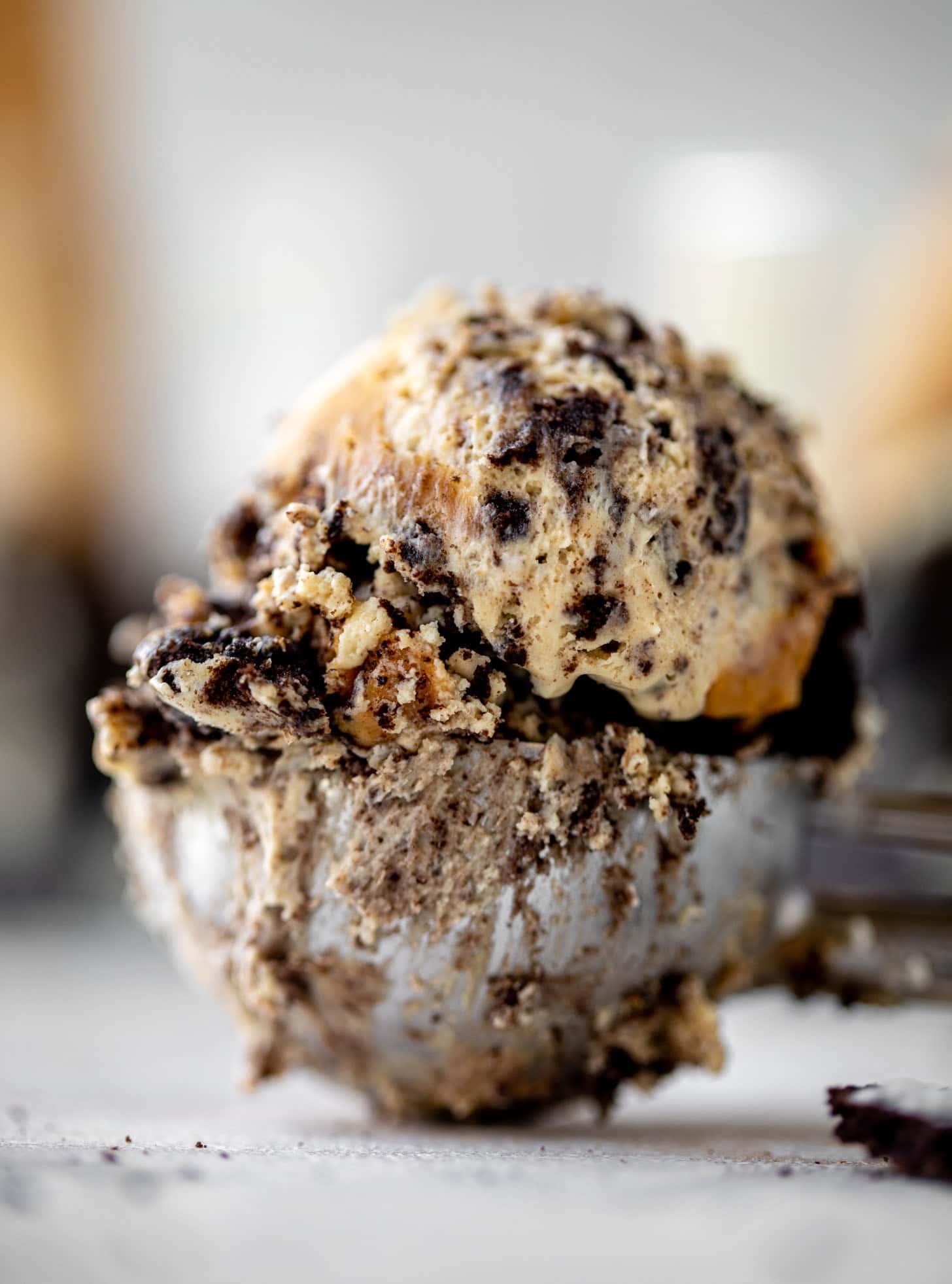 scoop of no churn peanut butter oreo ice cream