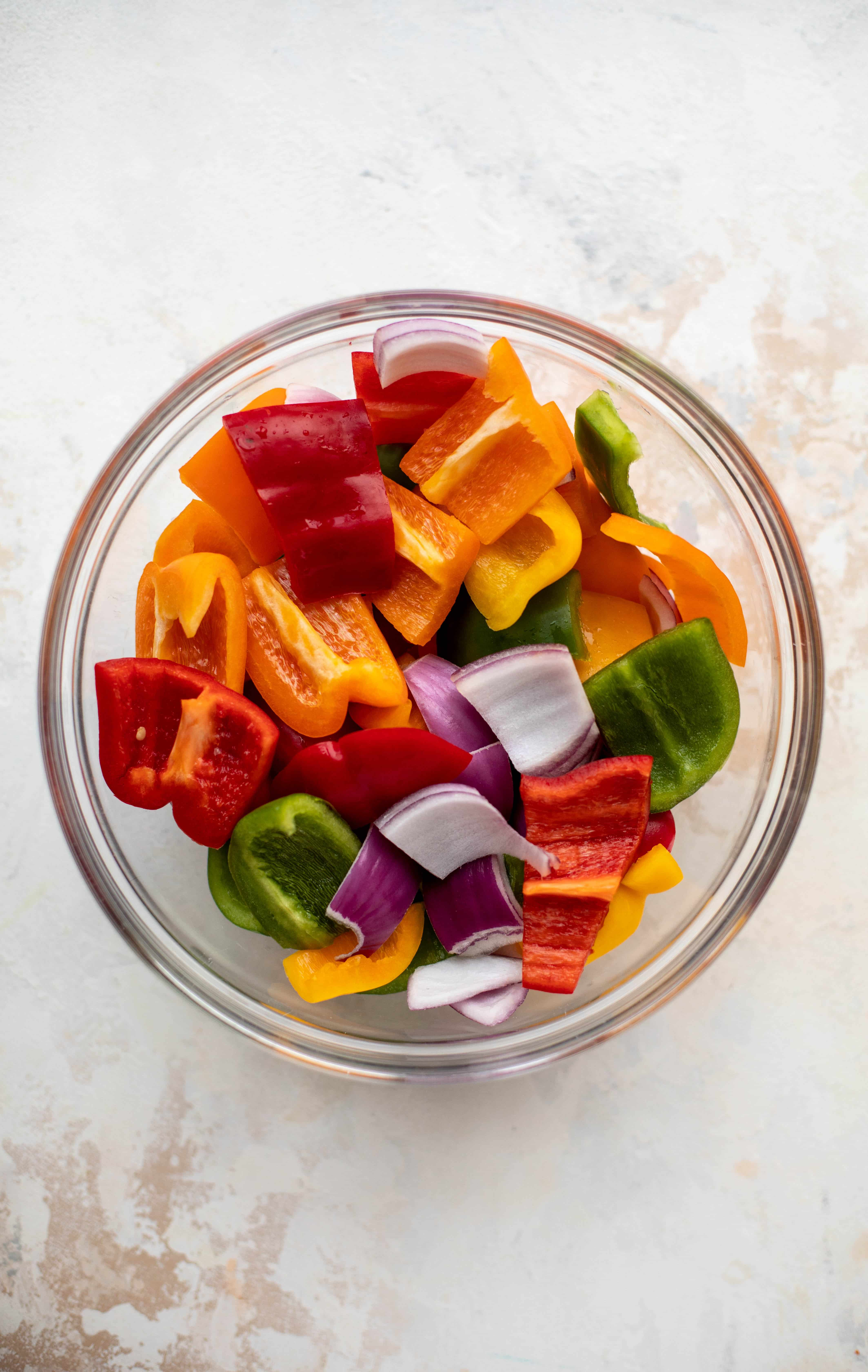 chopped bell peppers and onions