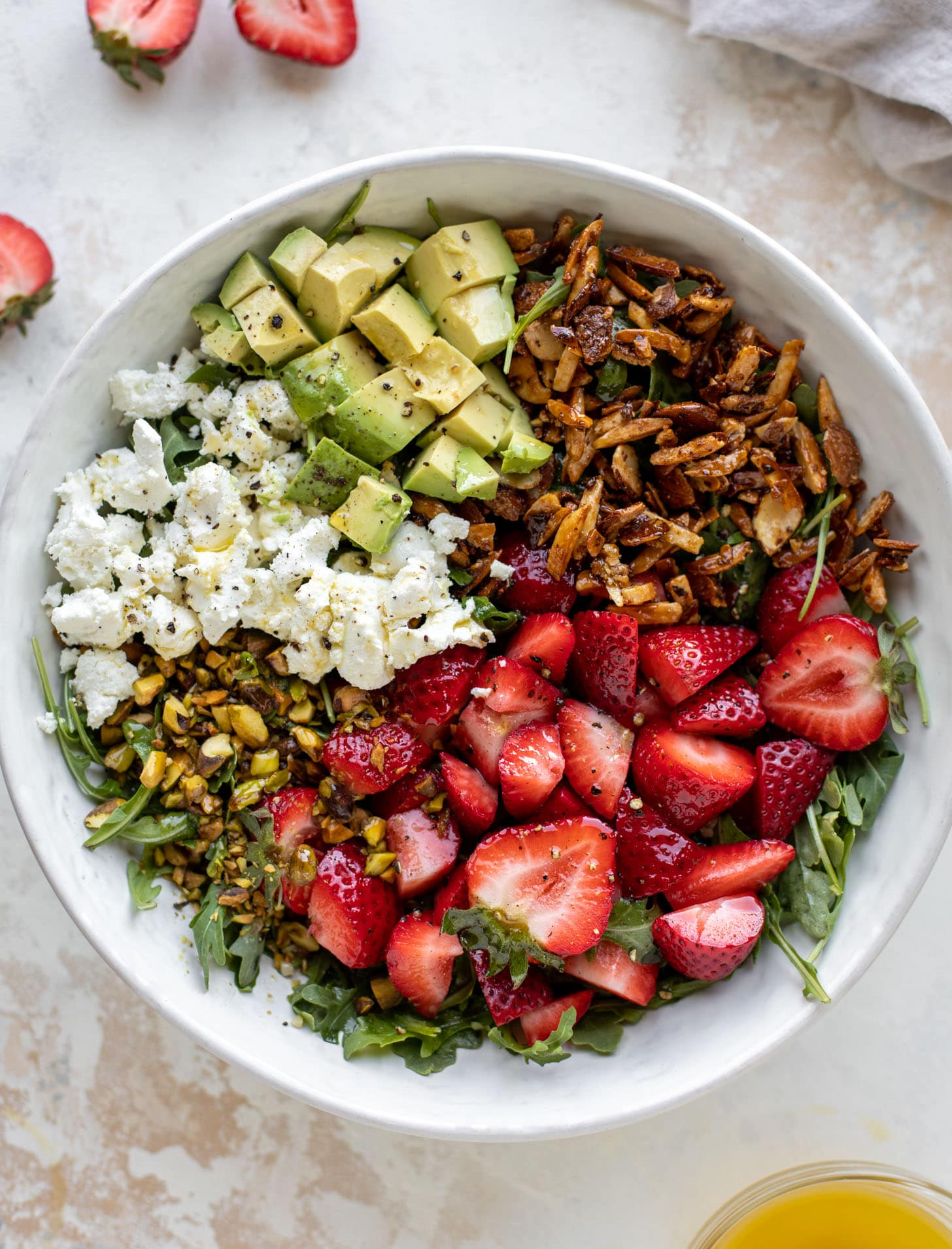 strawberry crunch salad with champagne vinaigrette