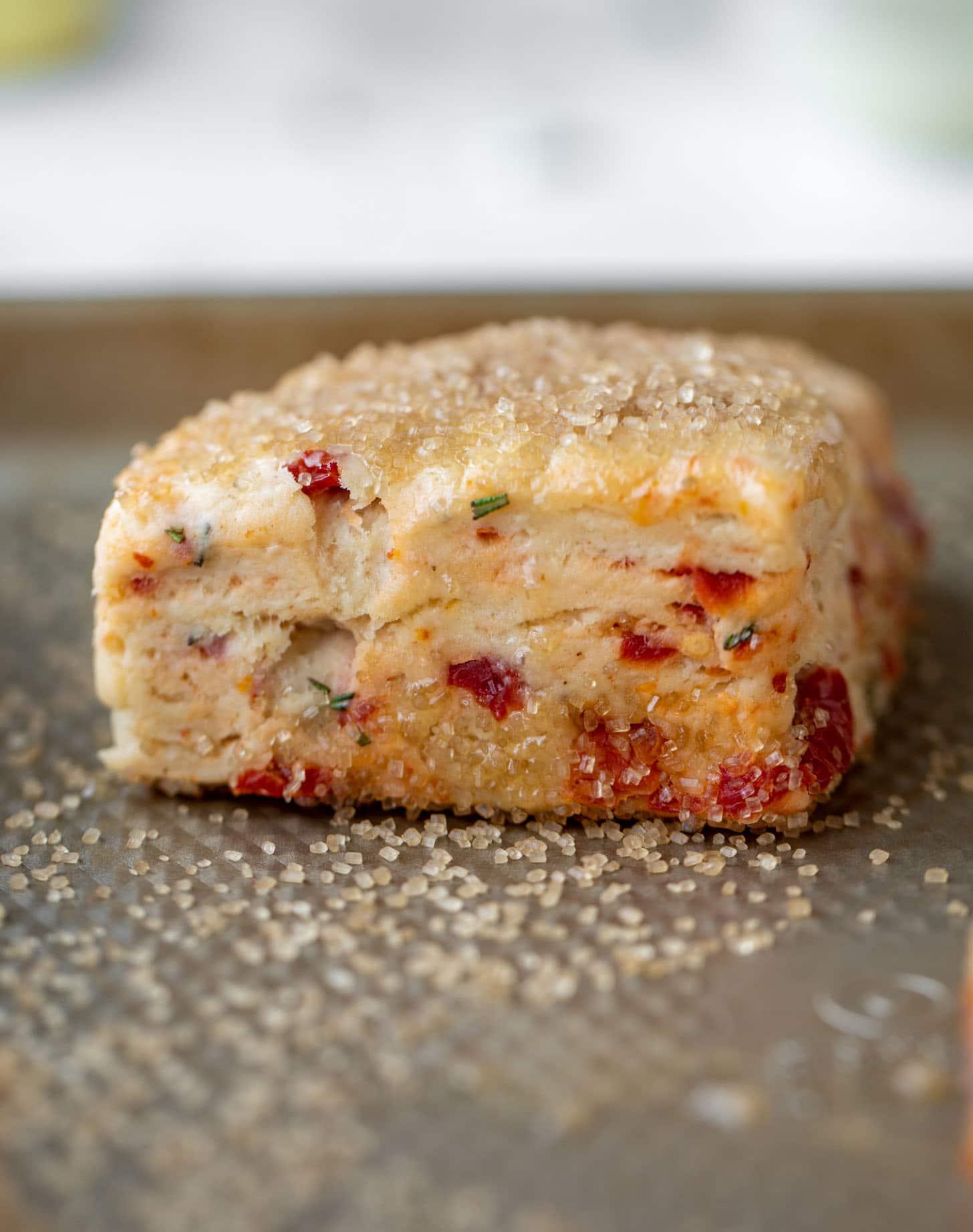 sun dried tomato scone ready for baking