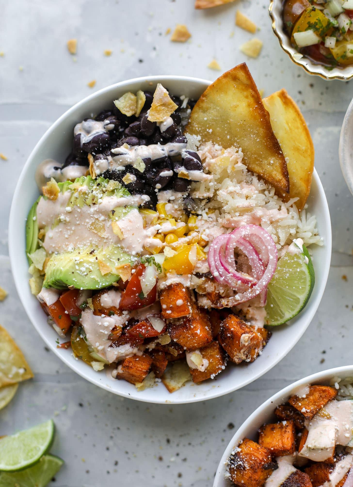 chili lime sweet potato taco bowls