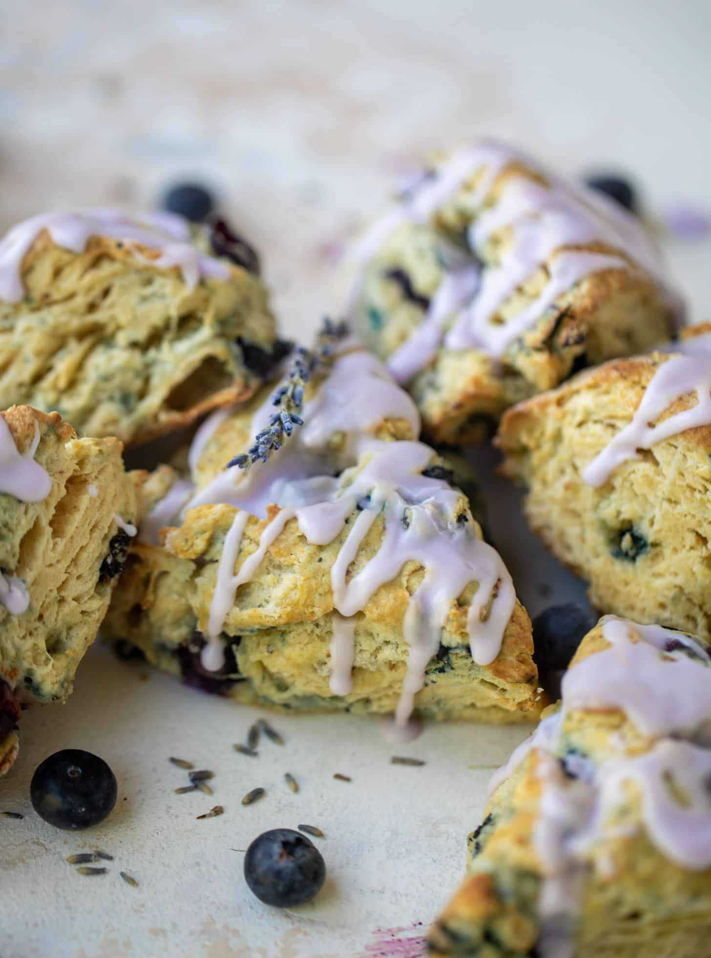 lavender glazed blueberry scones
