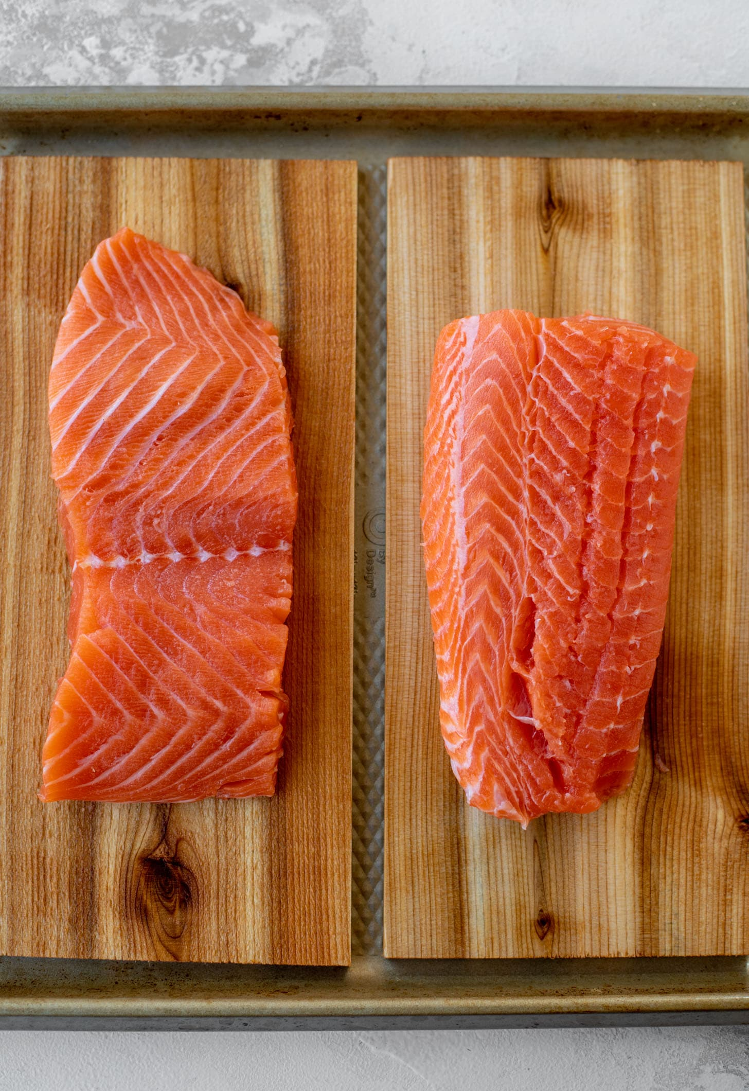 fresh salmon on cedar planks