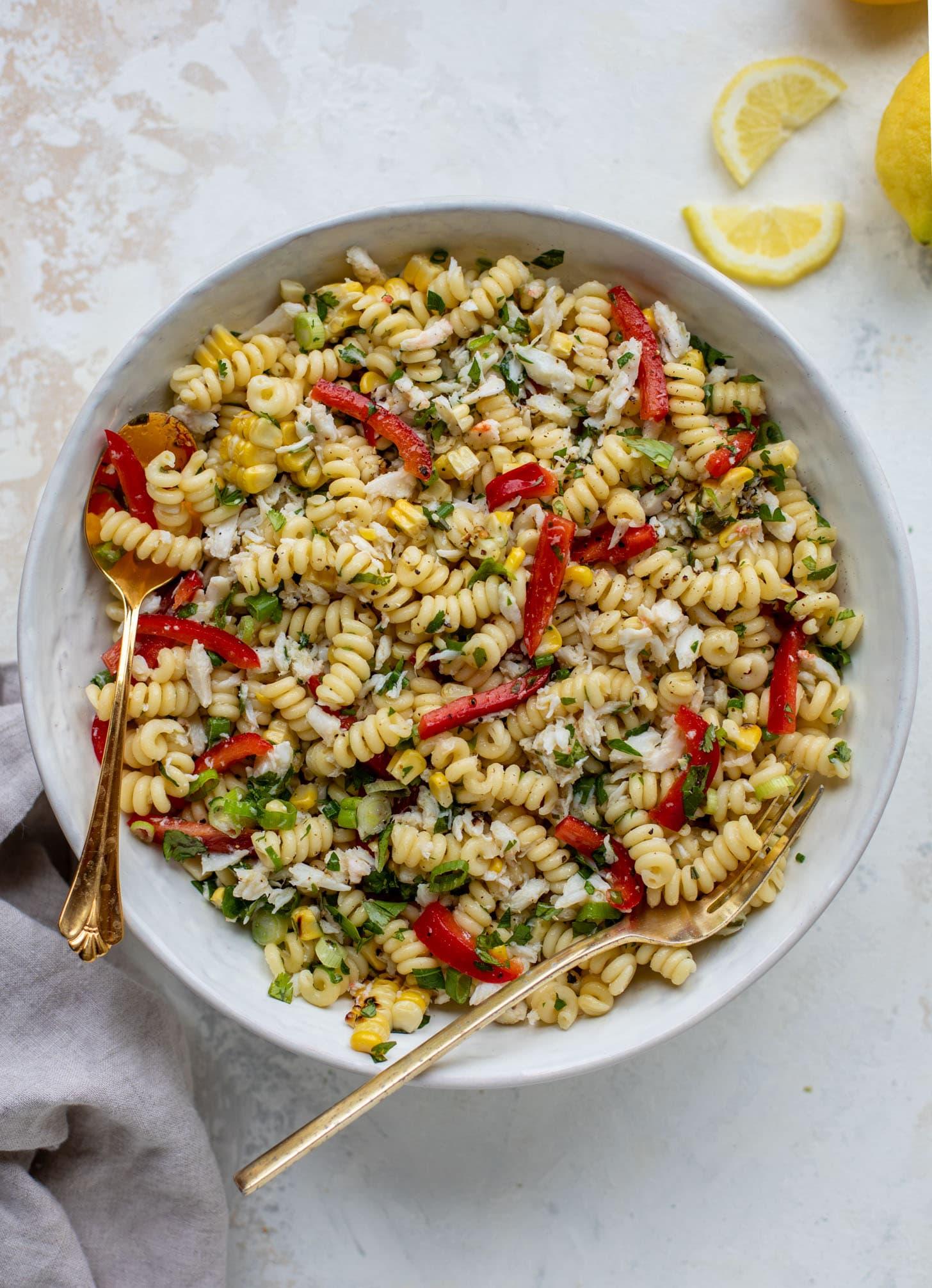 grilled corn and crab pasta salad