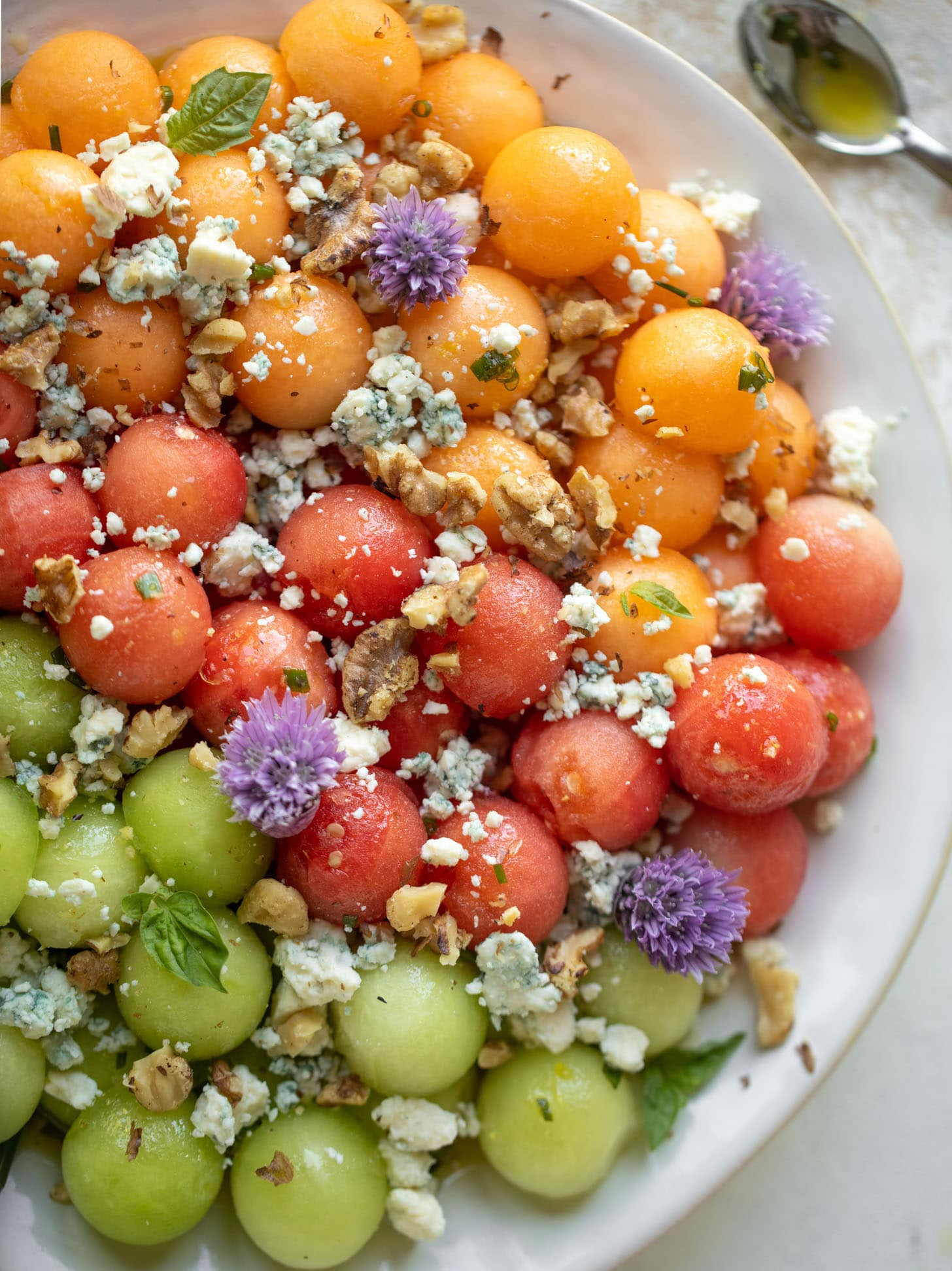 triple melon salad with blue cheese and walnuts