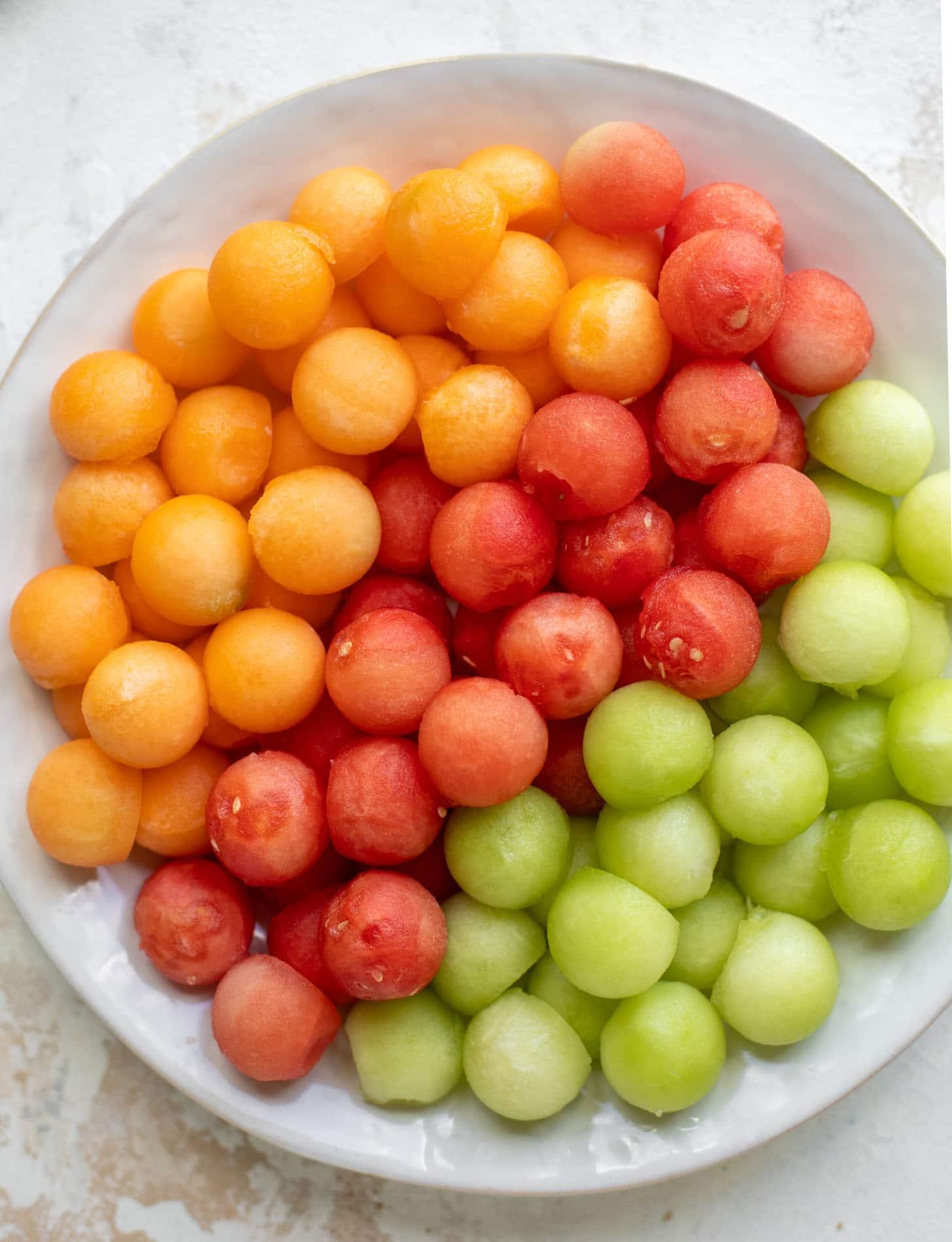 cantaloupe, watermelon, honeydew