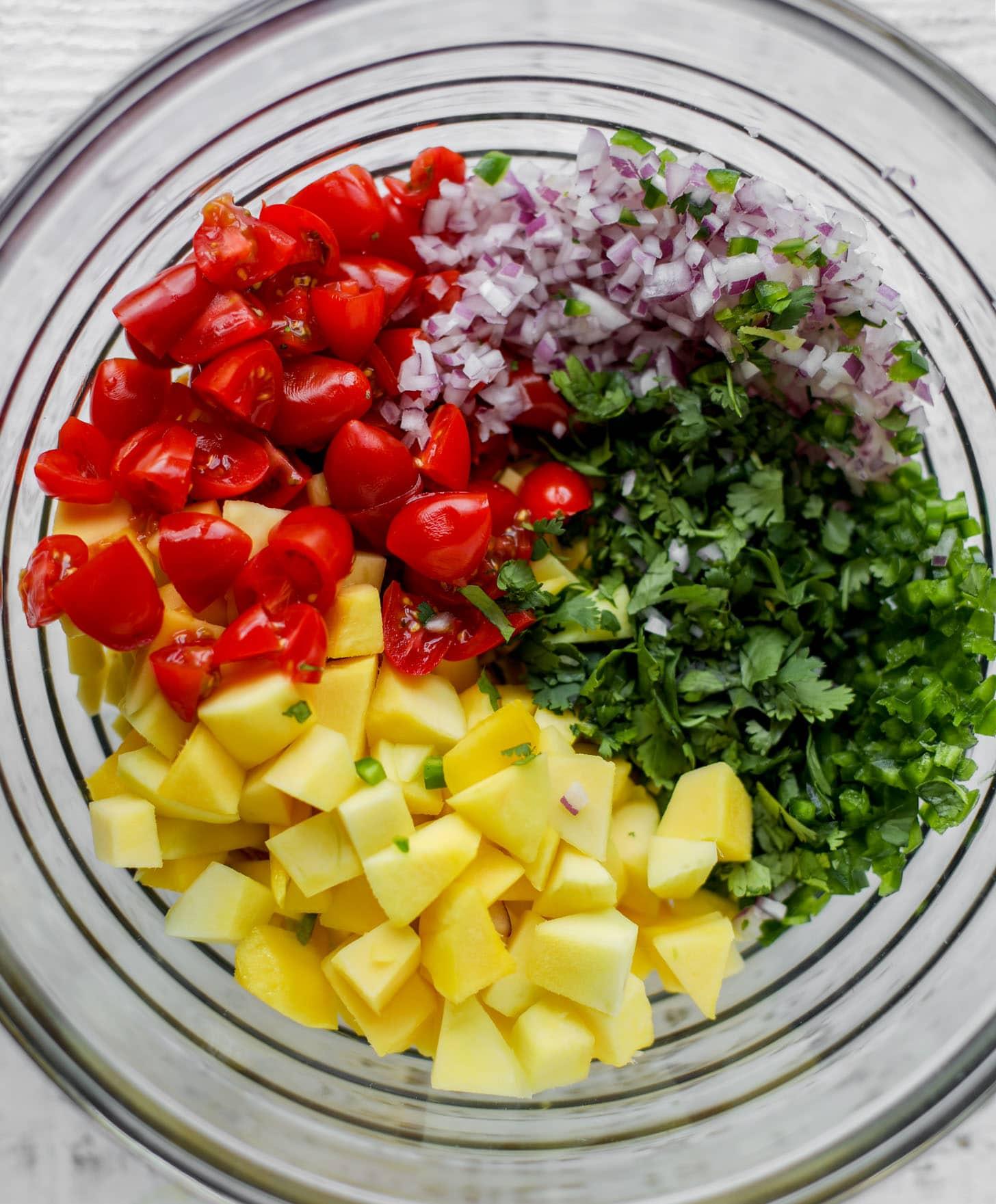 tomatoes, mango, onion, cilantro in a bowl
