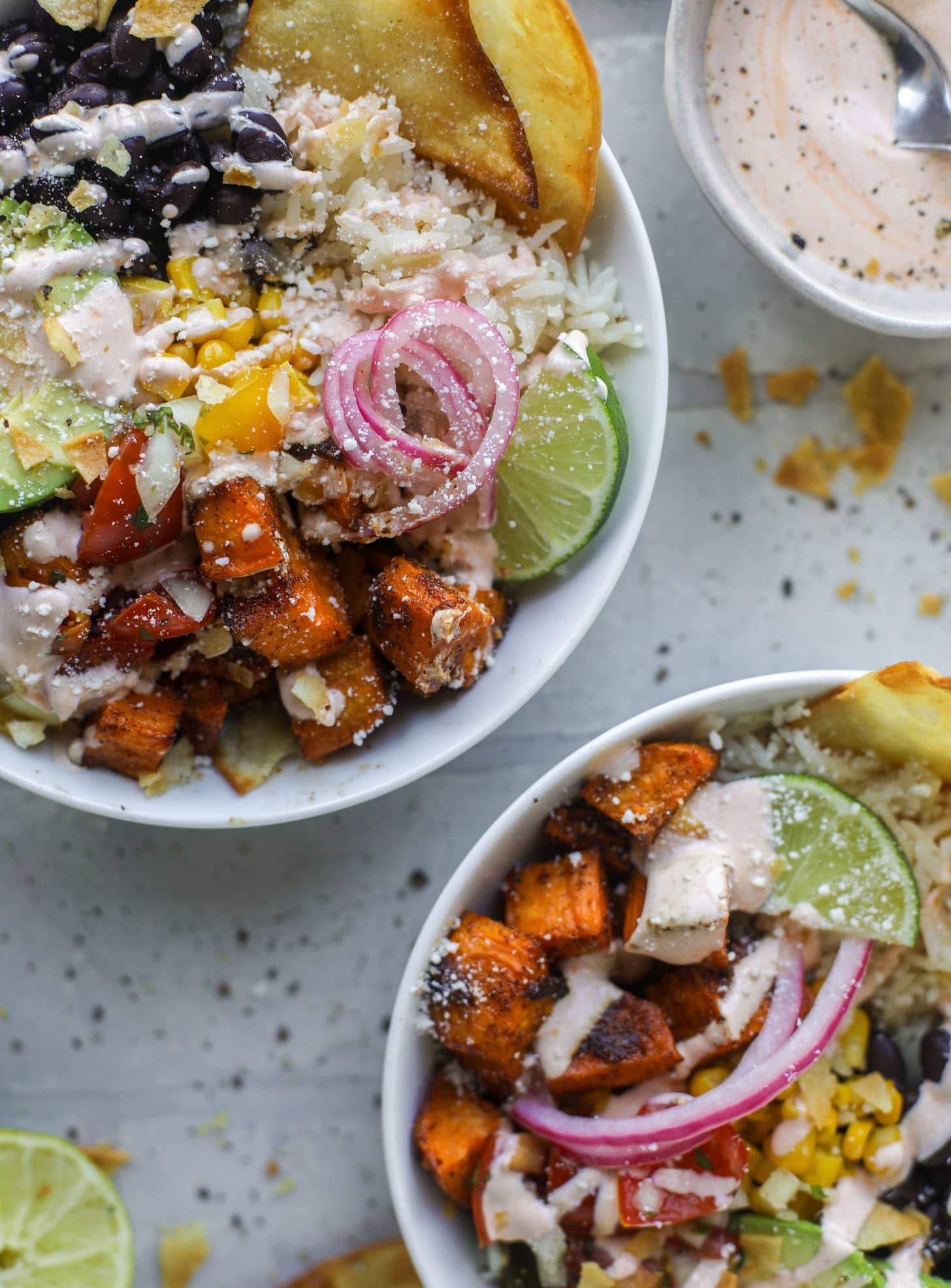 chili lime sweet potato taco bowls with chipotle ranch