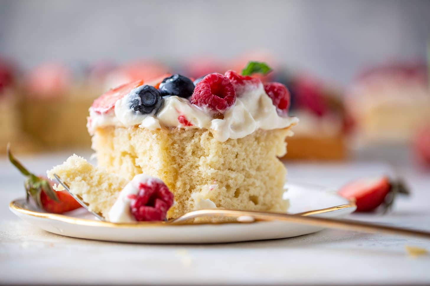 triple berry sheet cake with cream cheese frosting