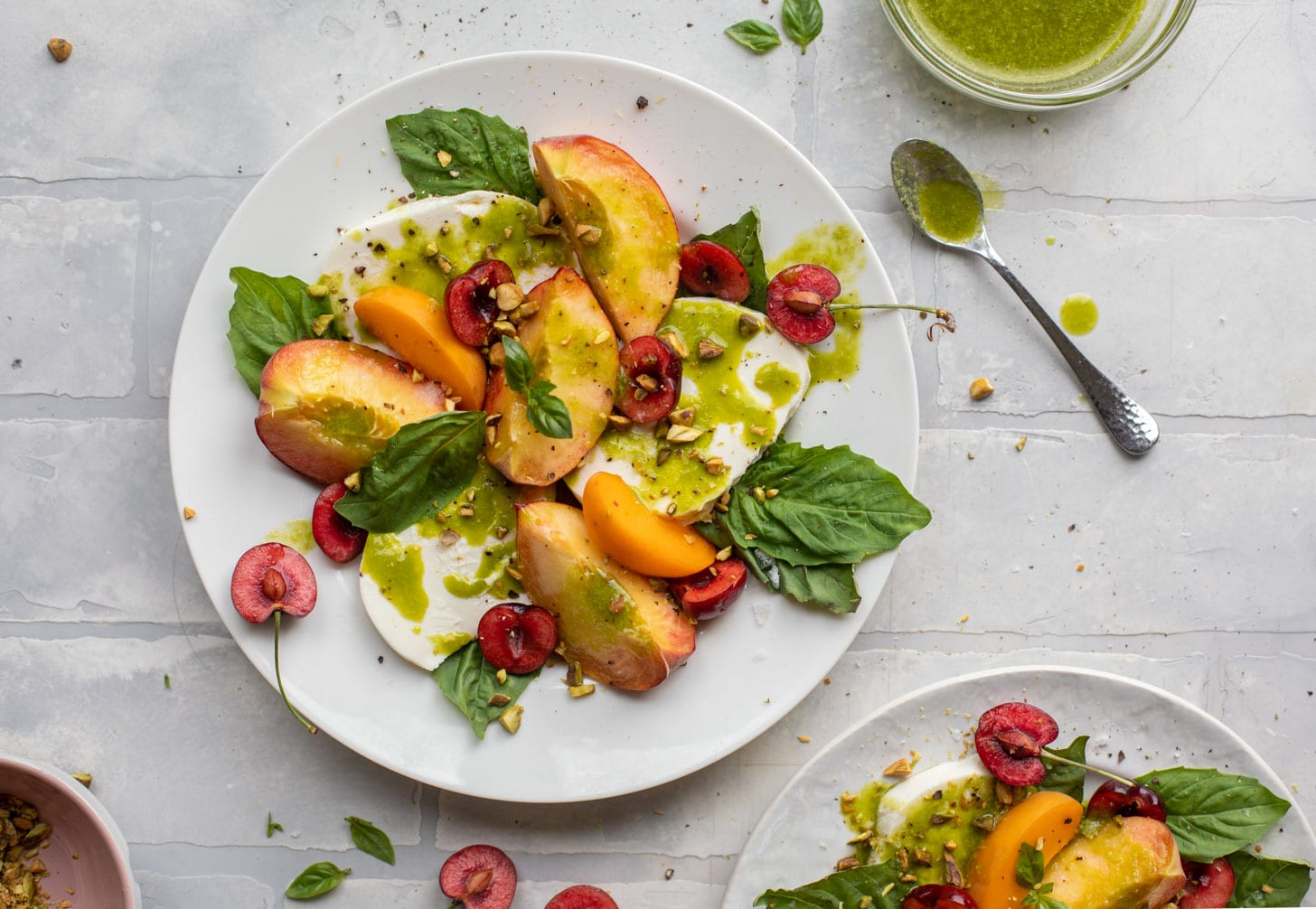 summer stone fruit caprese with basil vinaigrette