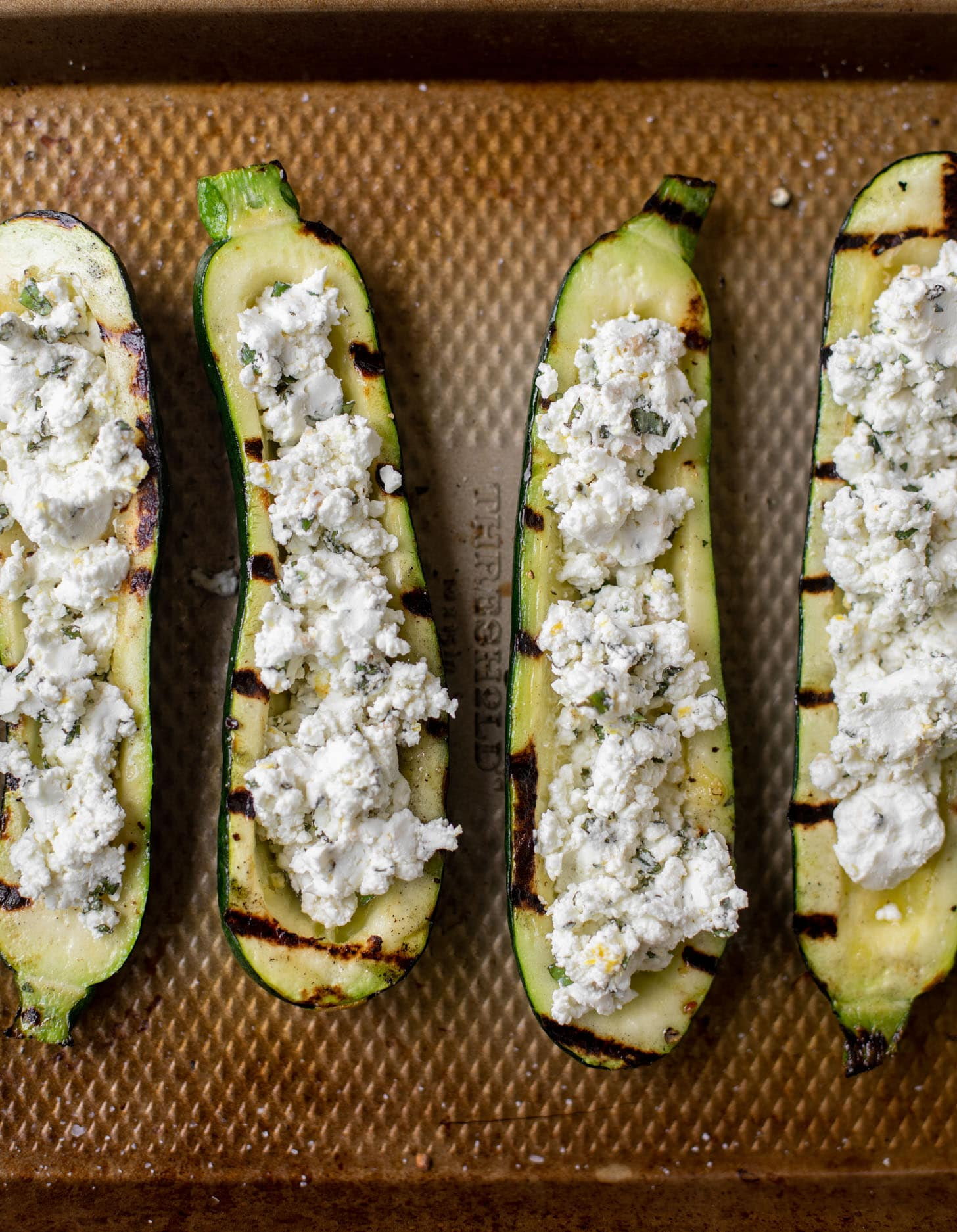 grilled goat cheese stuffed zucchini ready for the grill