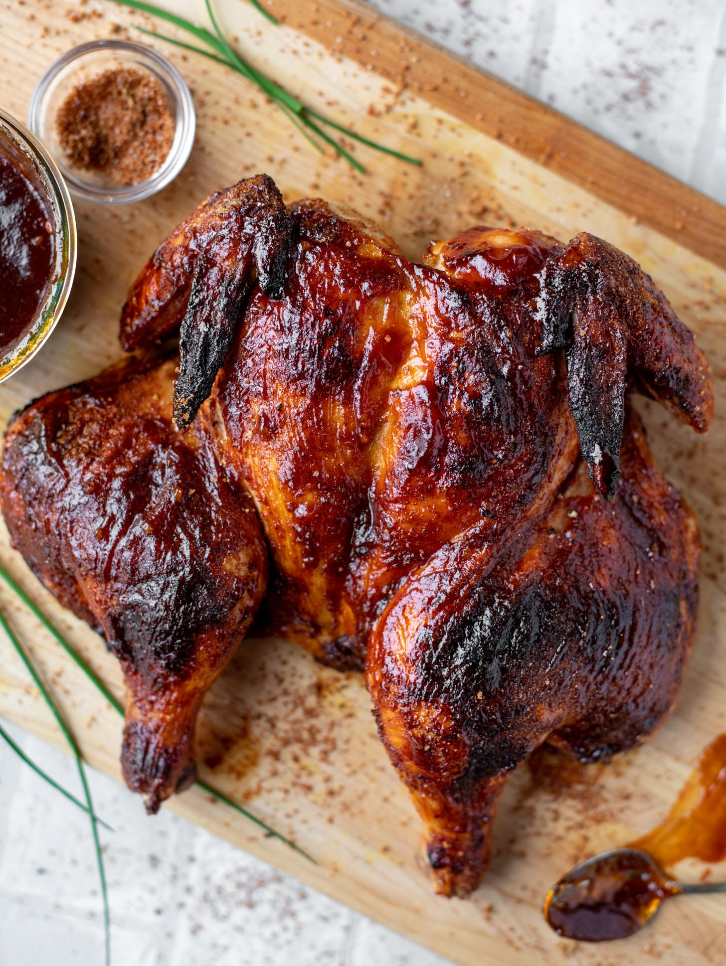 grilled spatchcock chicken with cola bbq sauce