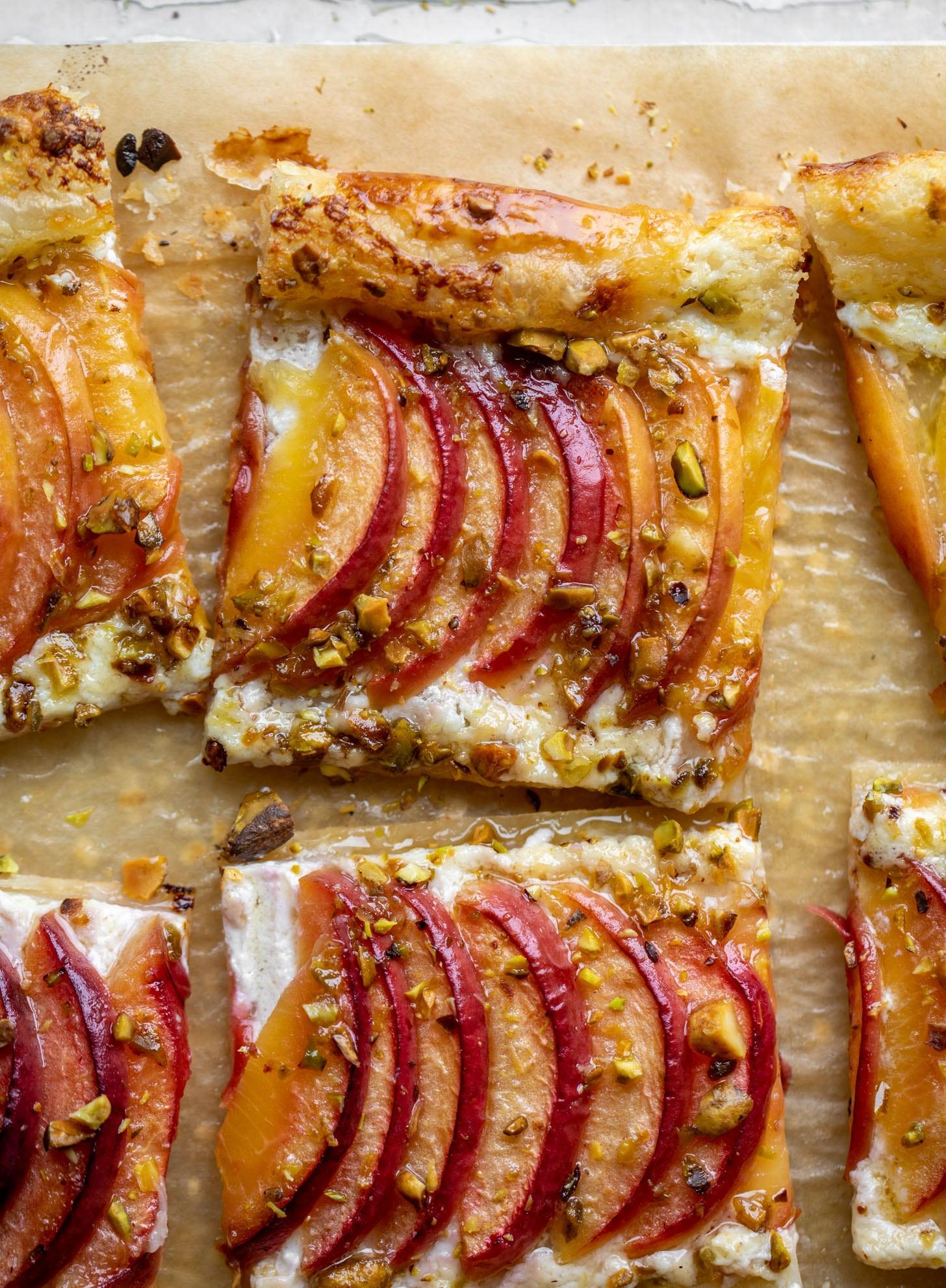 peach pistachio puff pastry