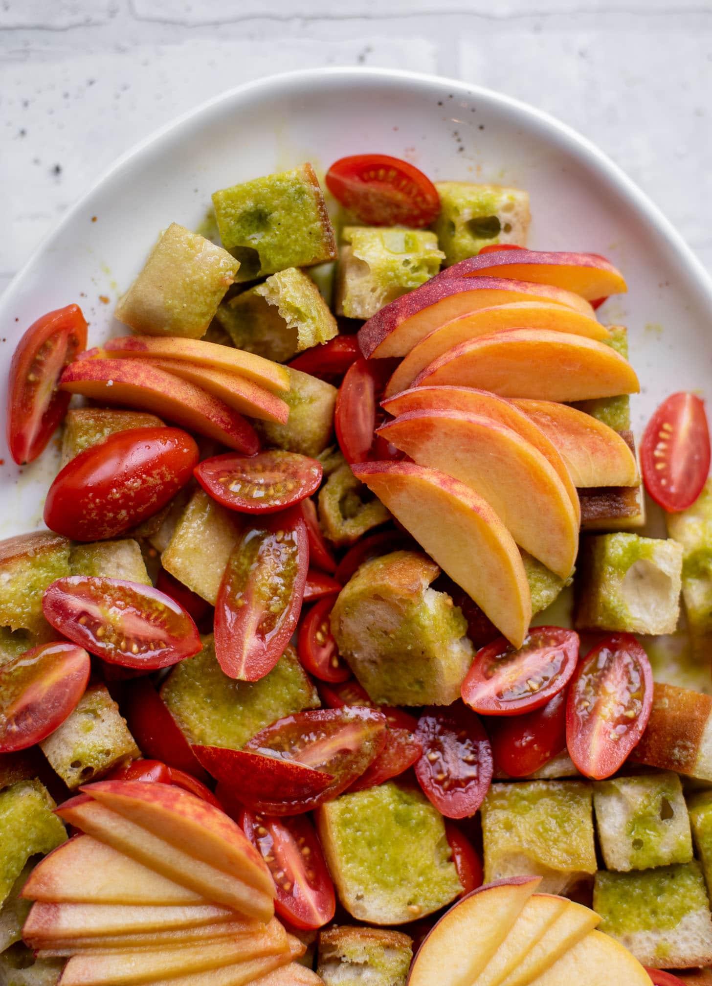 burrata basil and peach panzanella
