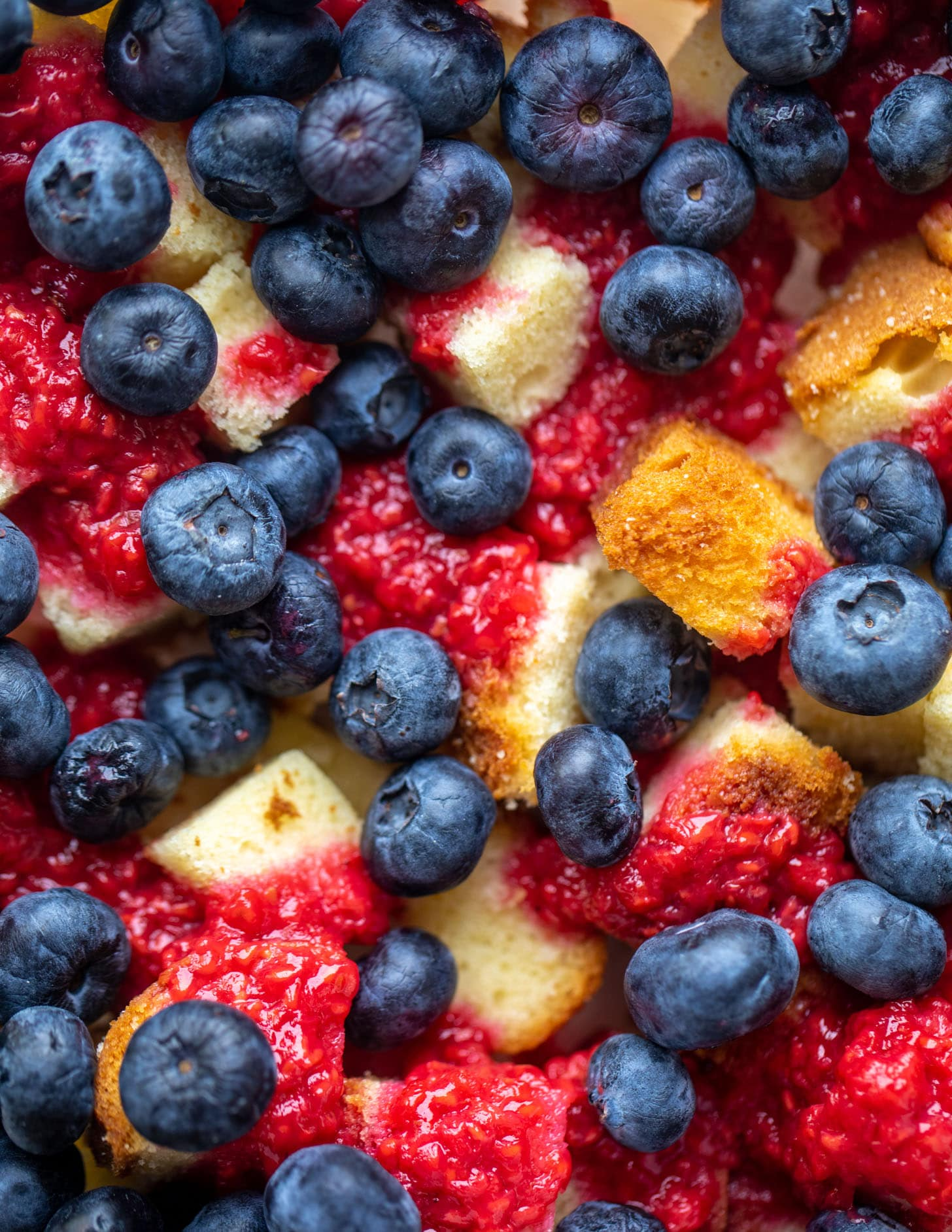 triple berry trifle with raspberry sauce