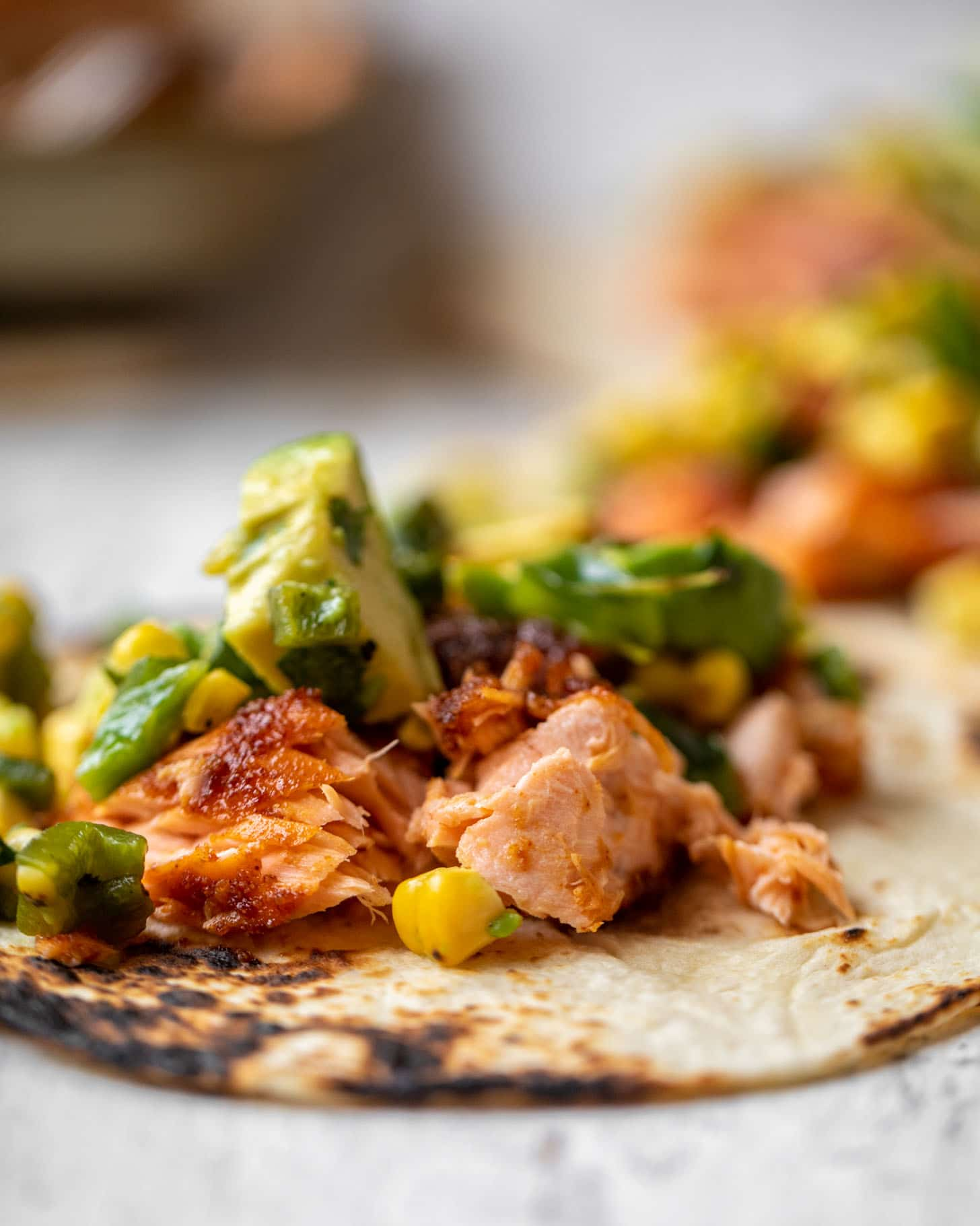 summer salmon tacos with grilled corn poblano salsa
