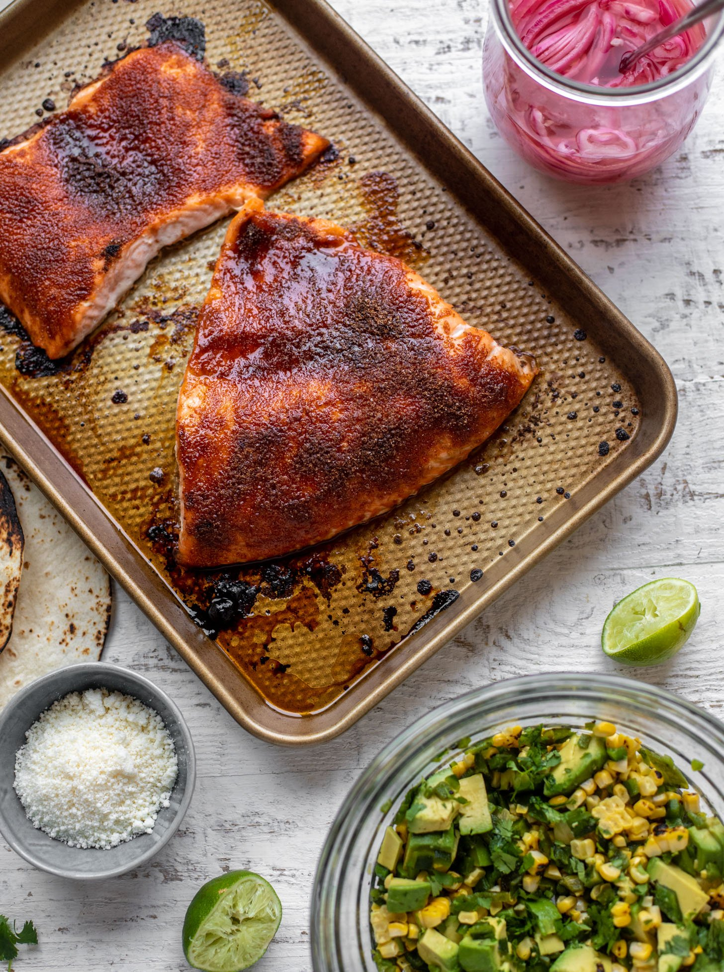 summer salmon taco ingredients