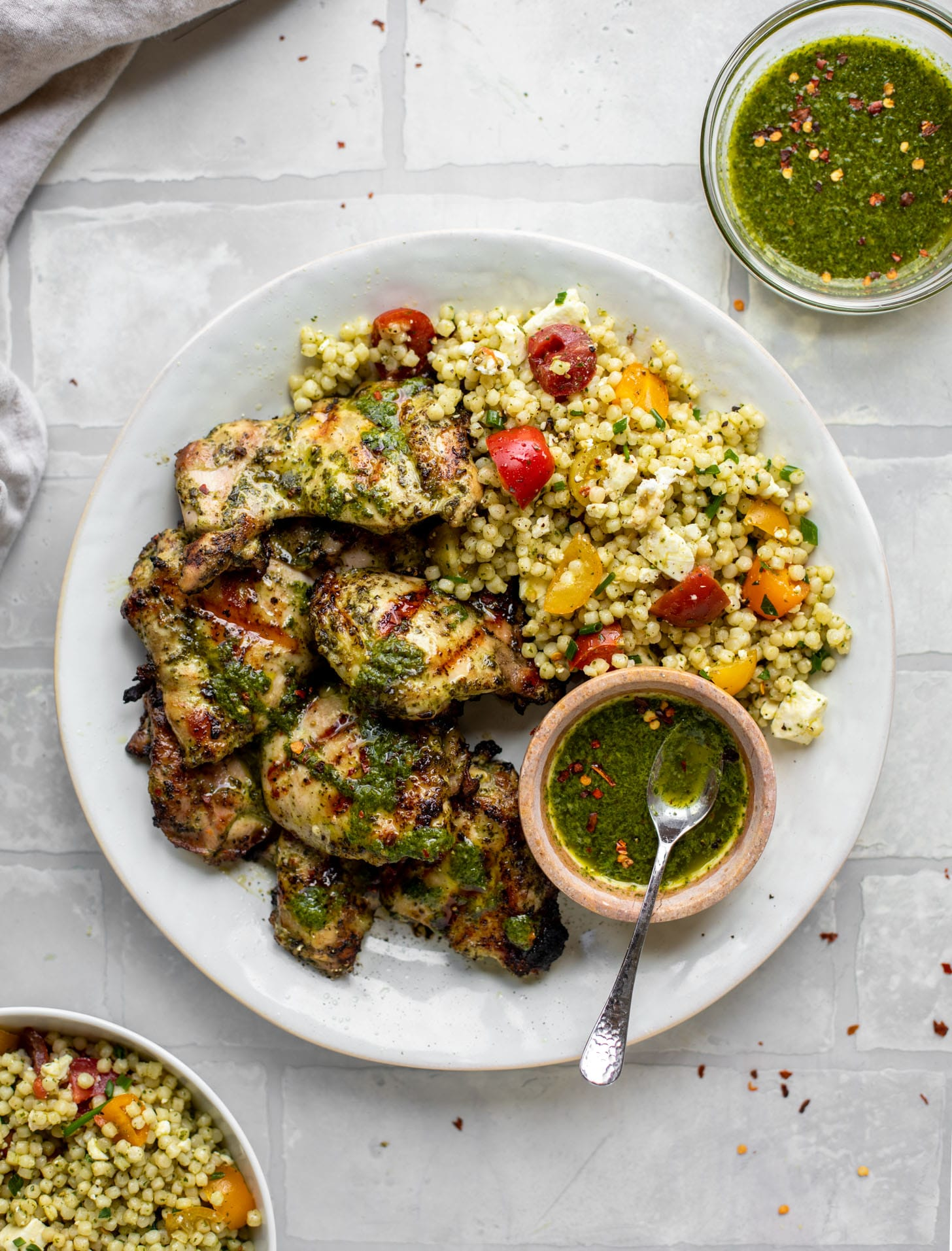 chimichurri grilled chicken with couscous salad