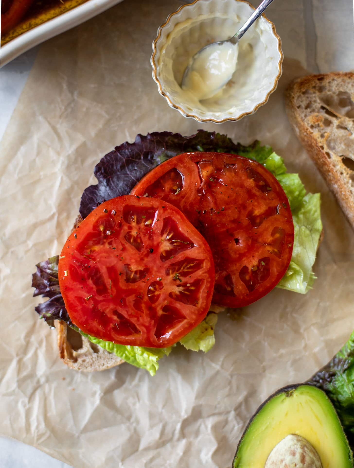 marinated tomato BLAT sandwiches
