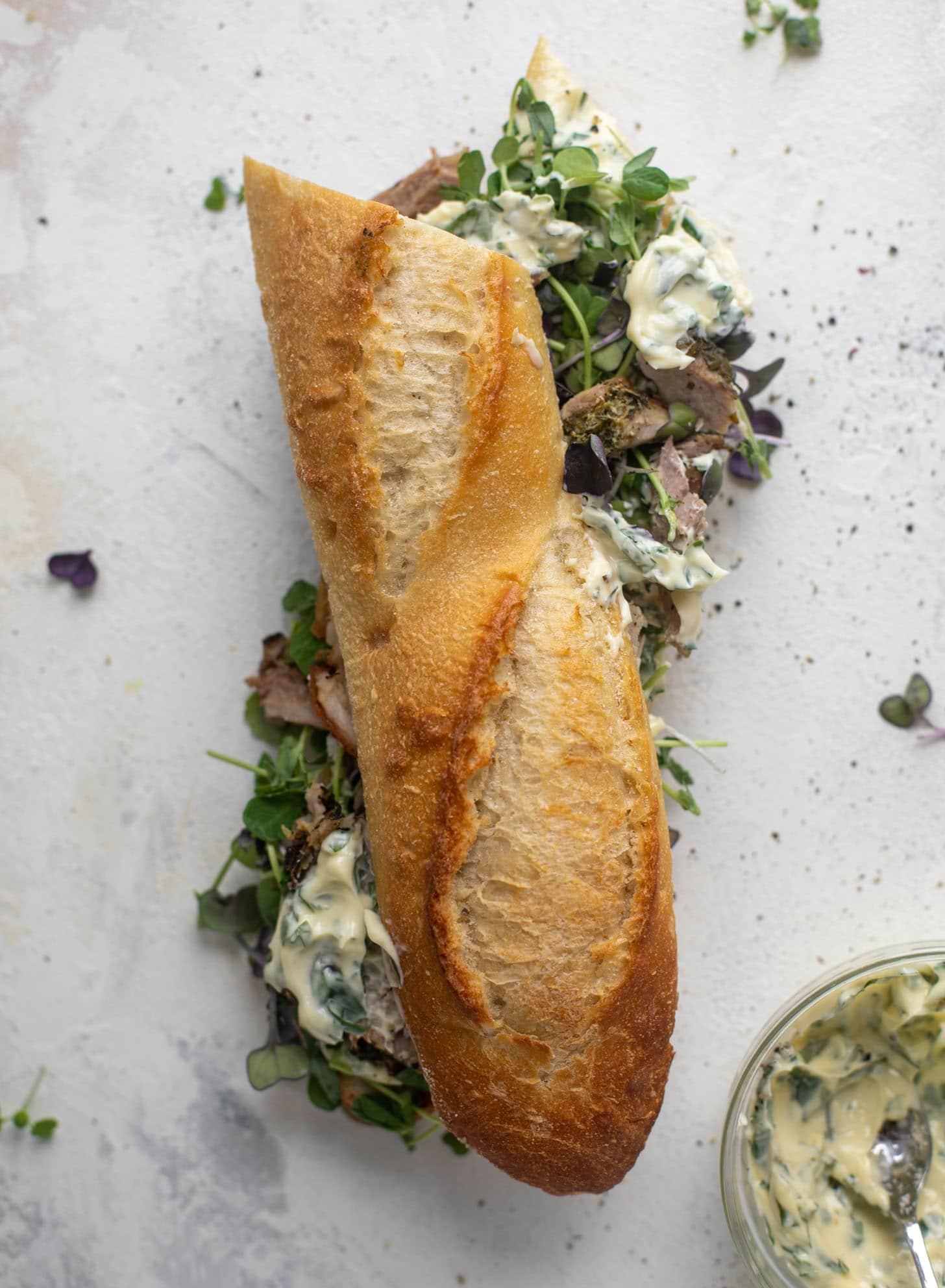 porchetta sandwiches with garlic herb mayo
