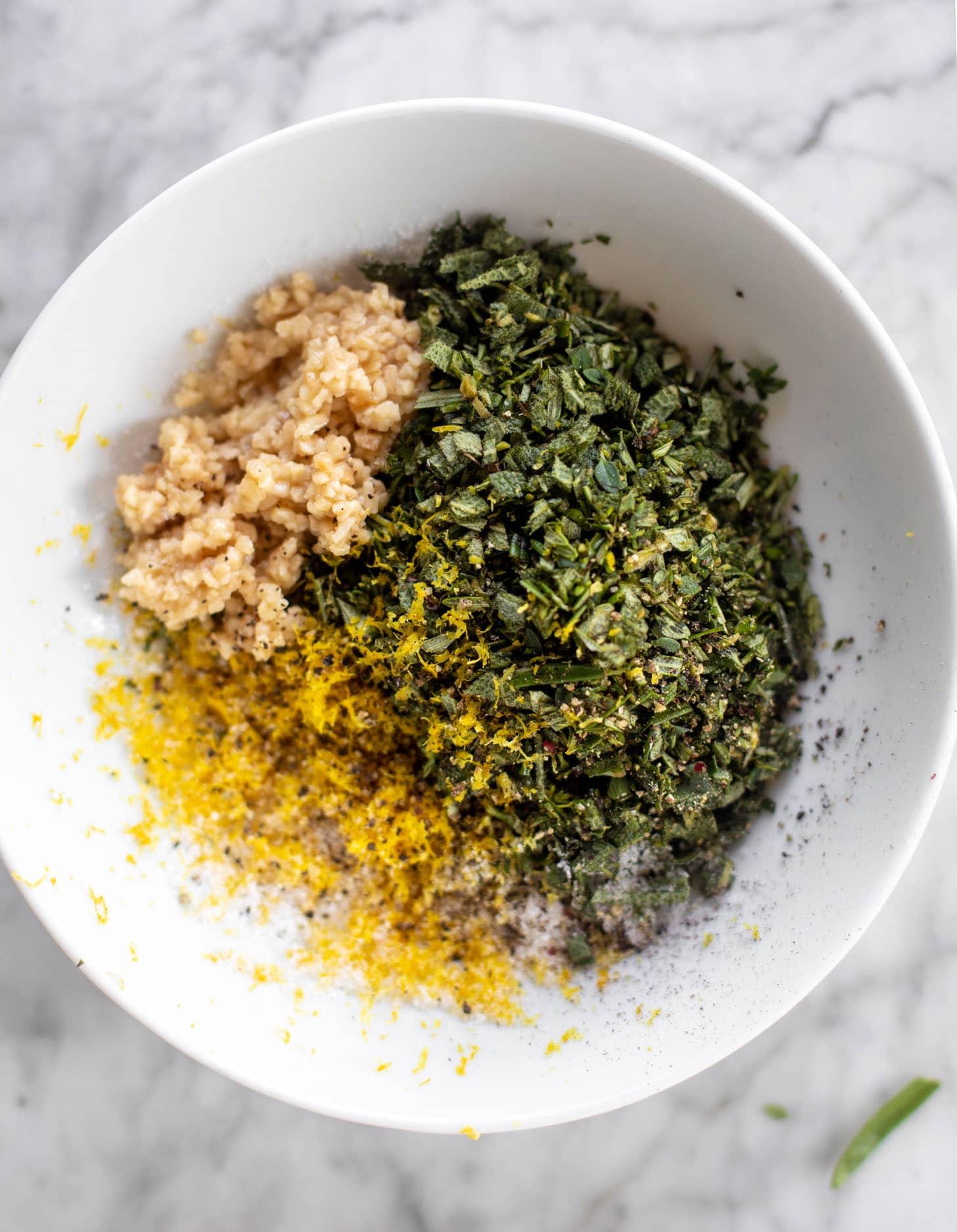garlic, lemon zest, herbs