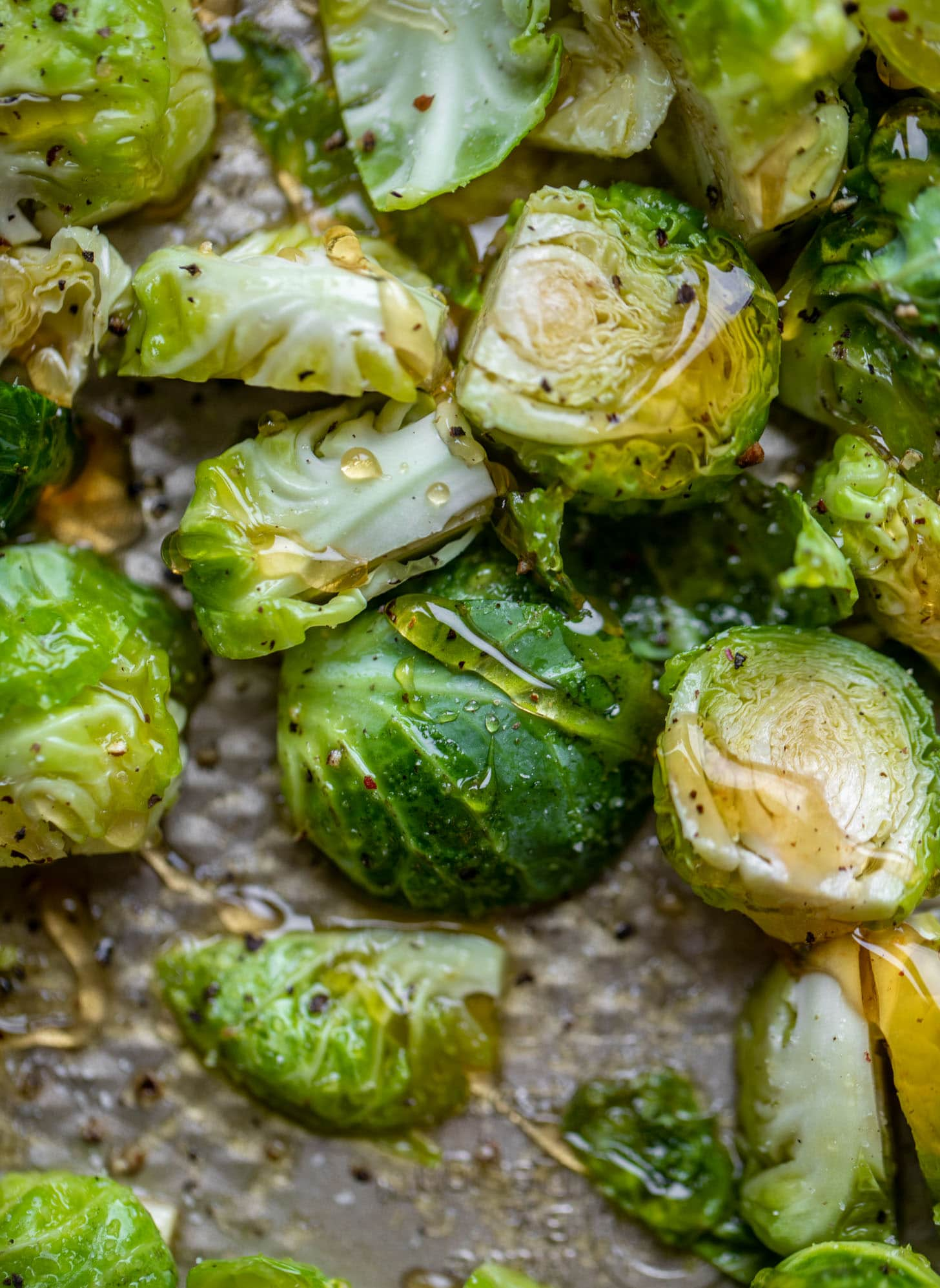 brussels sprouts on a sheet pan with honey
