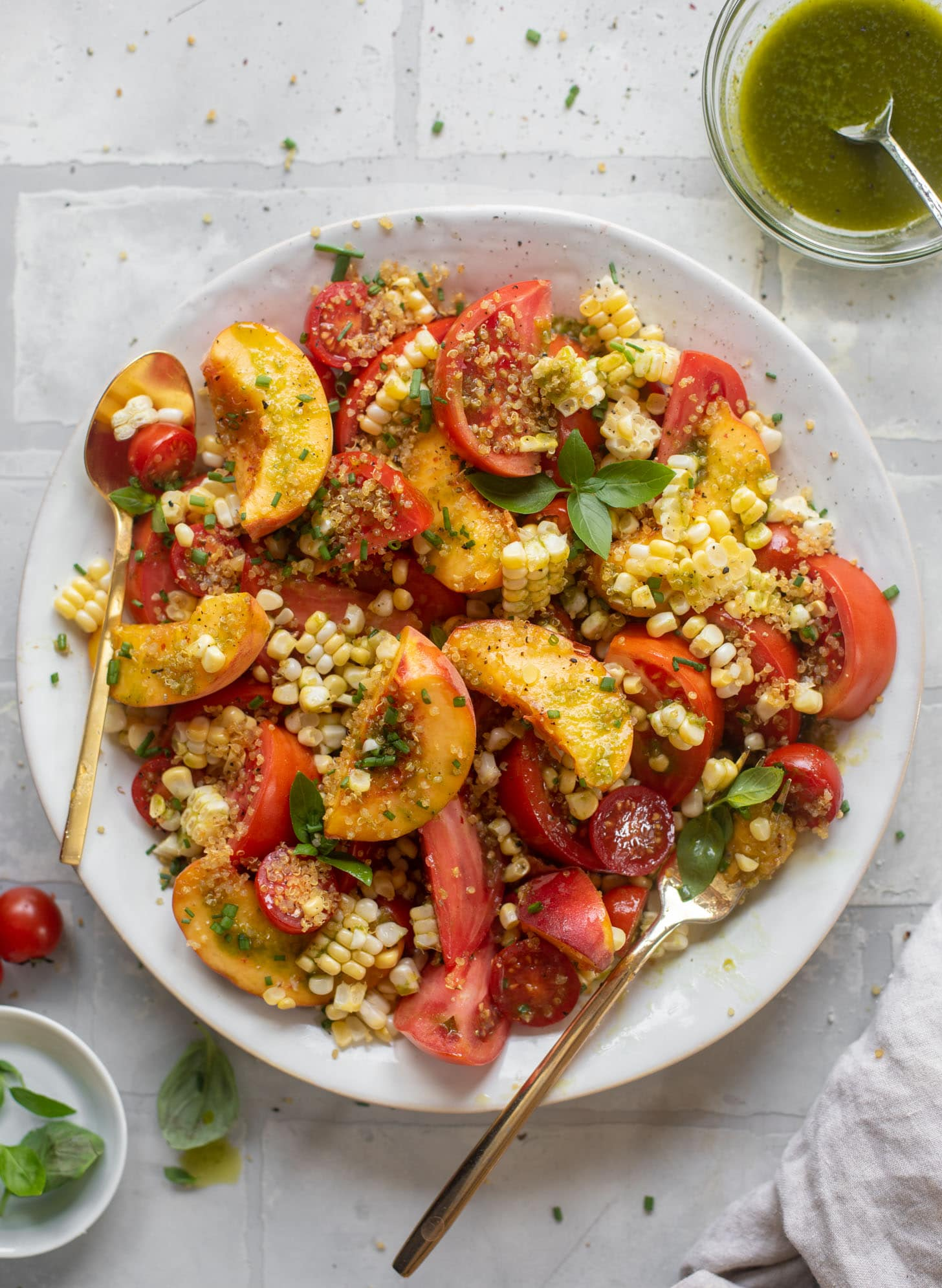 sweet corn, peach and tomato salad