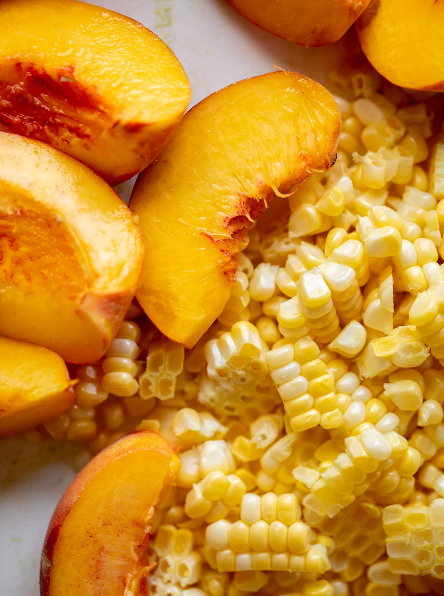 corn and peaches