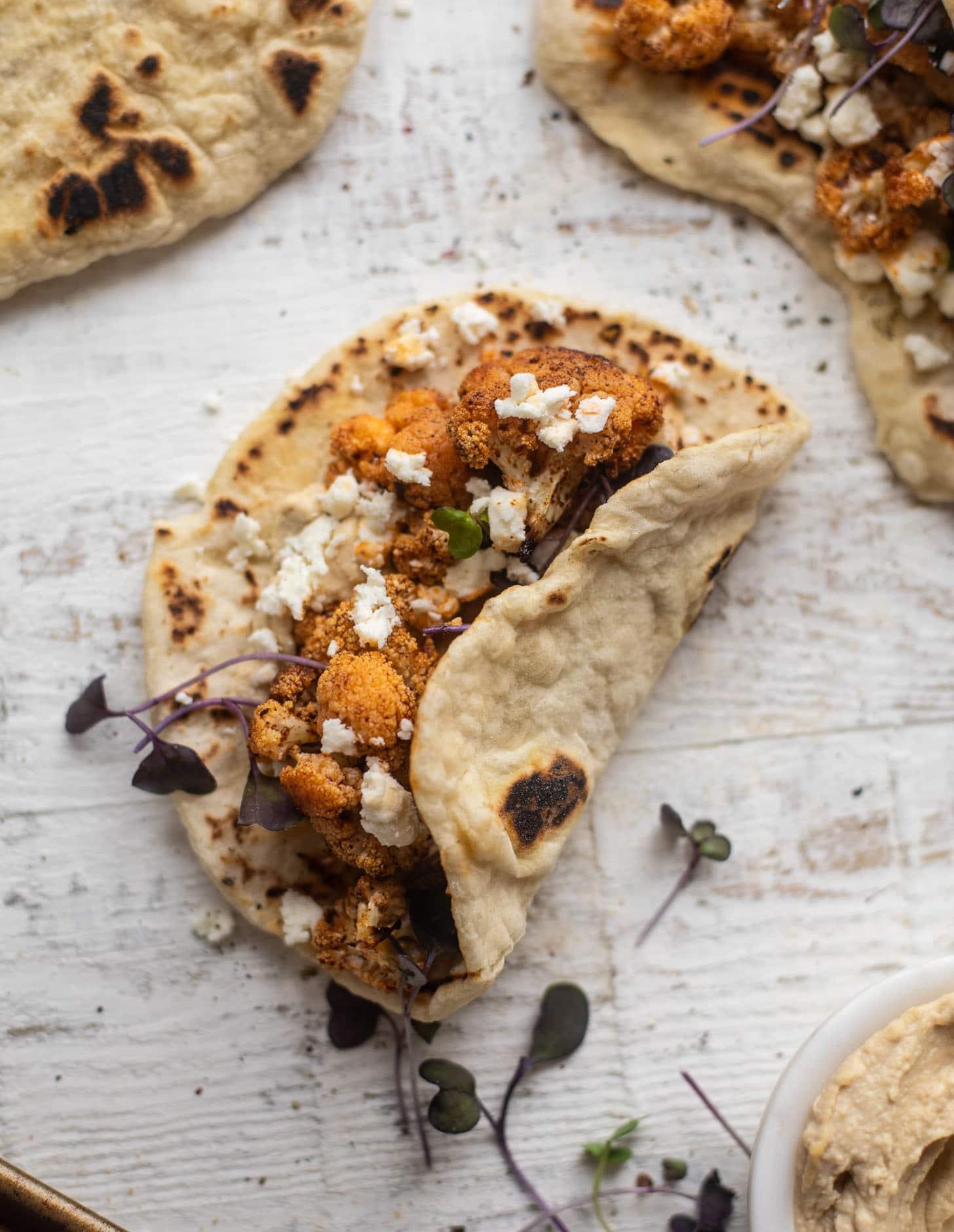 chipotle roasted cauliflower pitas