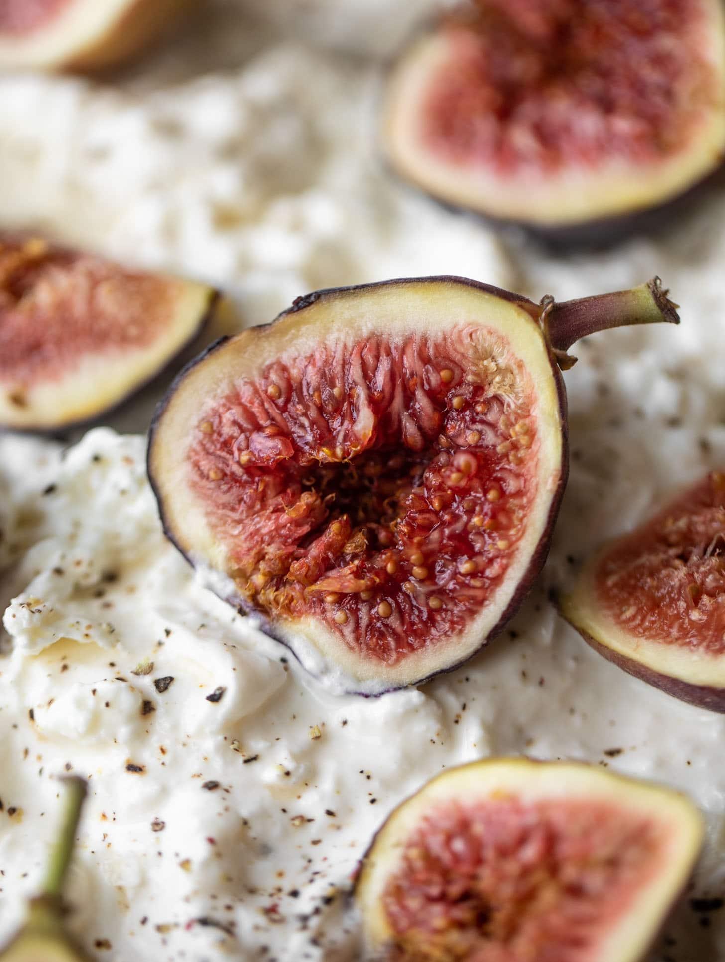 fresh fig on burrata
