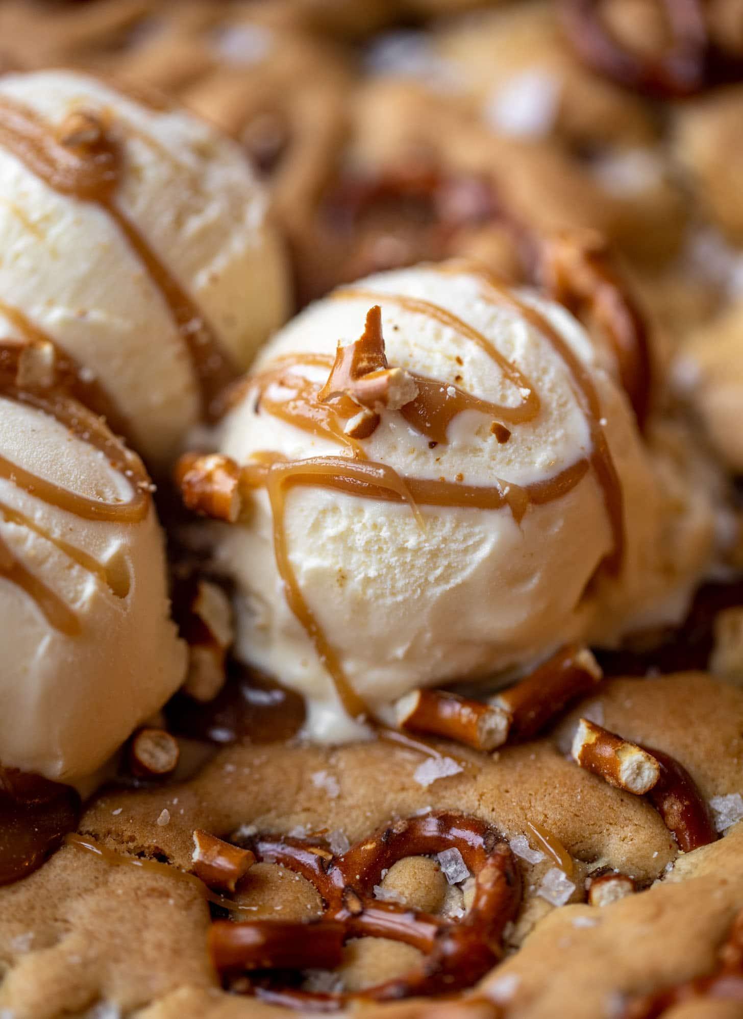 ice cream on caramel pretzel skillet cookie