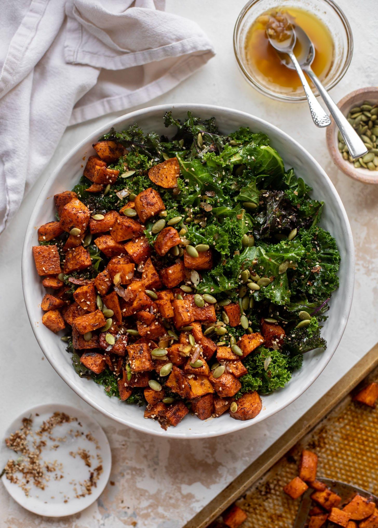 smoky sweet potato kale salad with hot ginger dressing